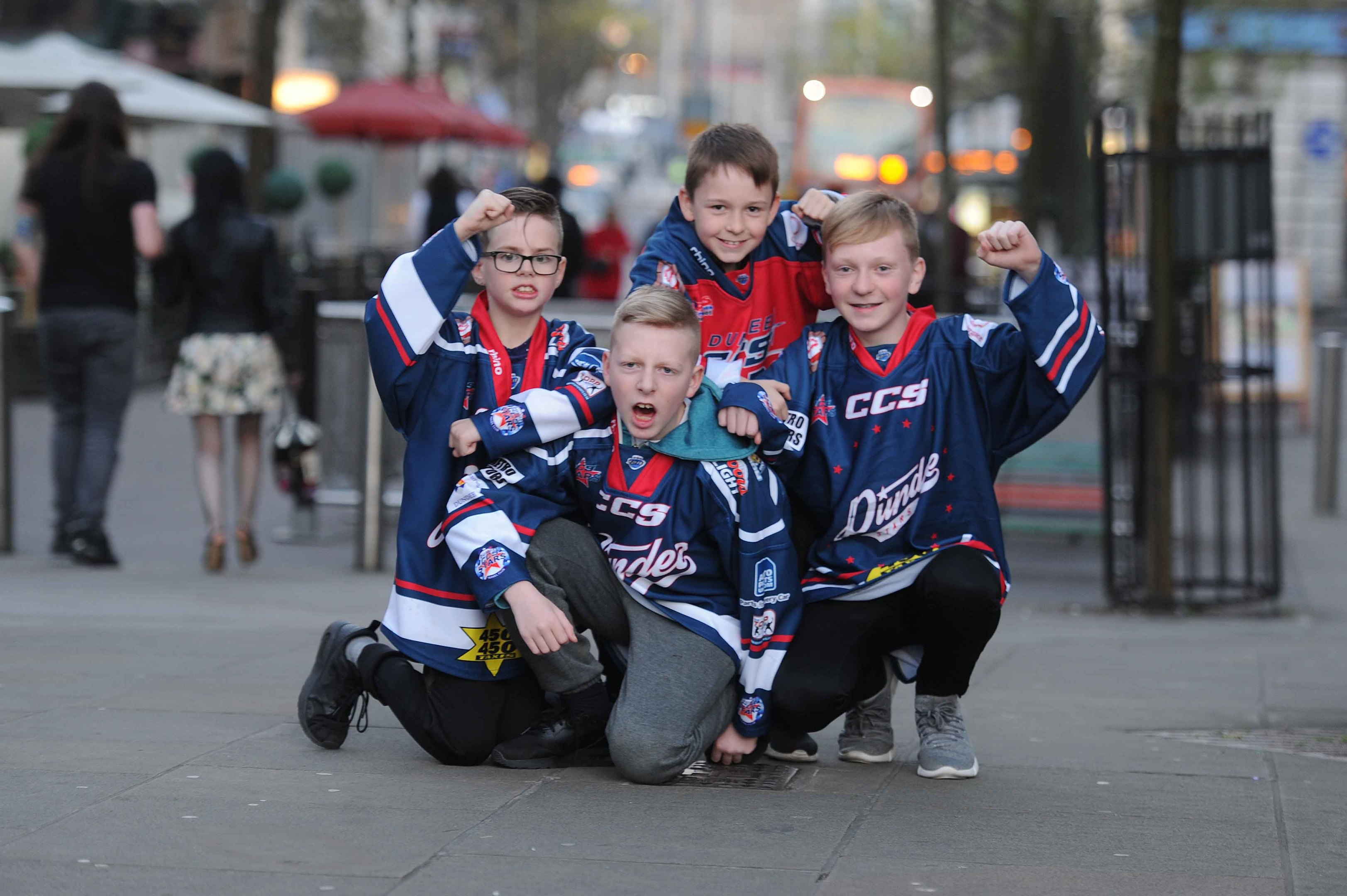 Young Stars fans Logan Houstoun, Dylan Small, Ryan Martin and Kian Martin in Nottingham,