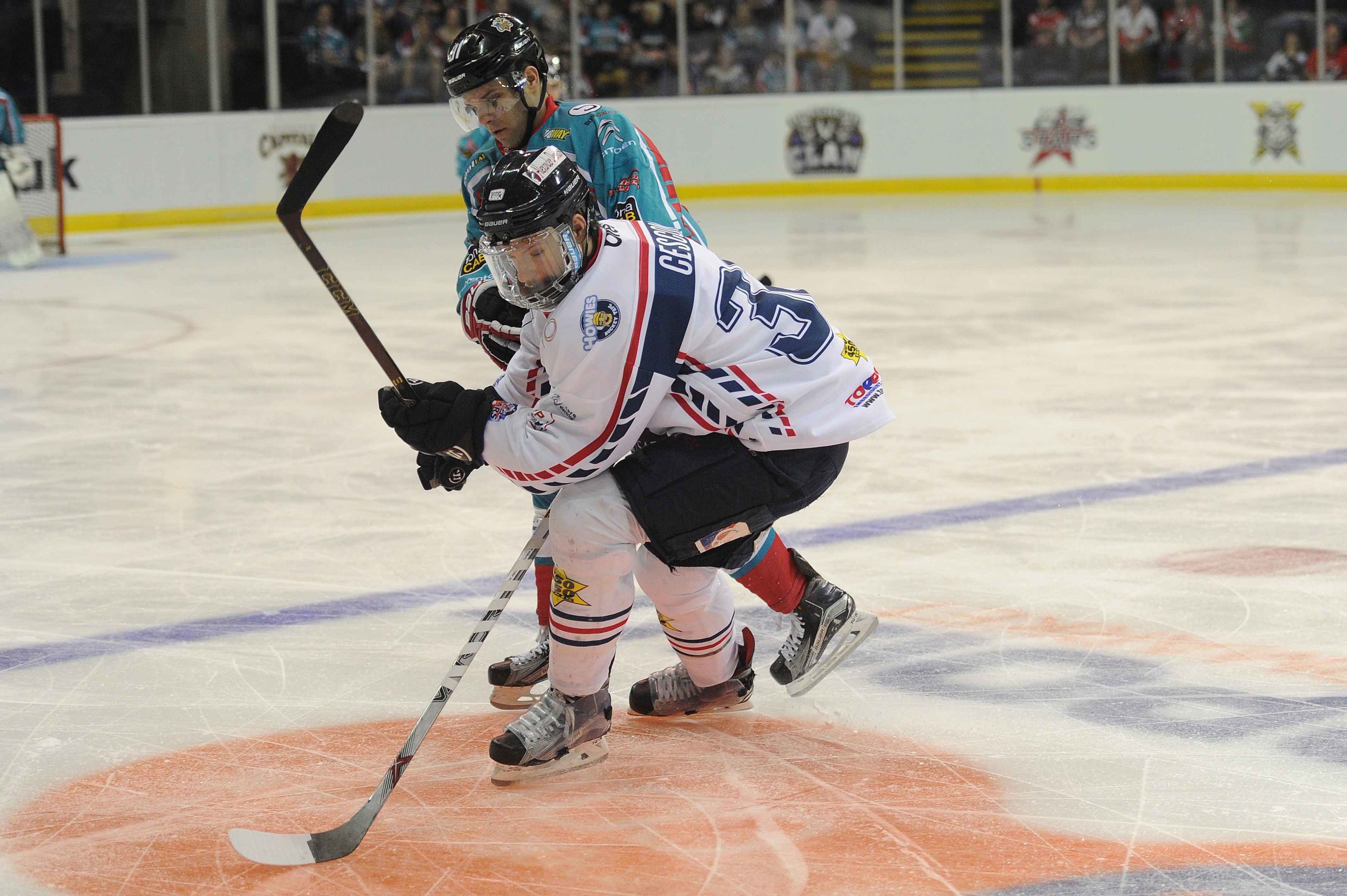 Action from Dundee Stars  match against the Belfast Giants at the Motorpoint Arena, in Nottingham, during the play-off final weekend.