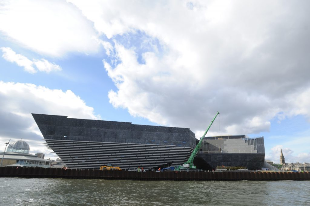 The V&A under construction, as seen from the water.