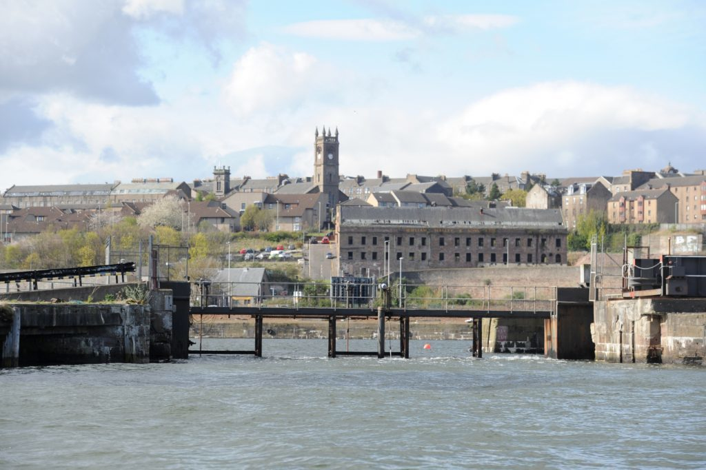 Sea gate at entrance to City Quay, Dundee Harbour.
