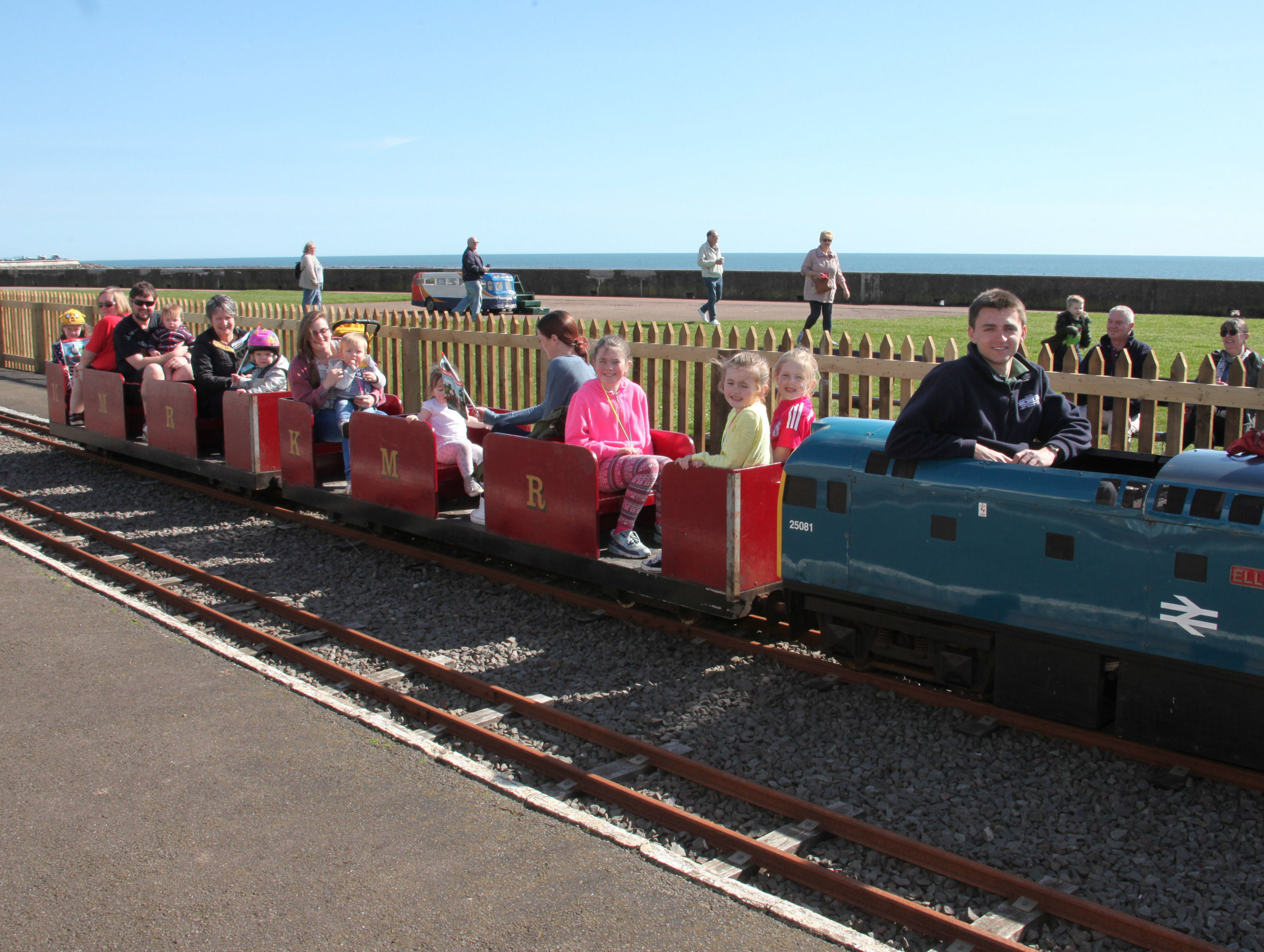 John Kerr with an opening weekend carriage of young railway fans