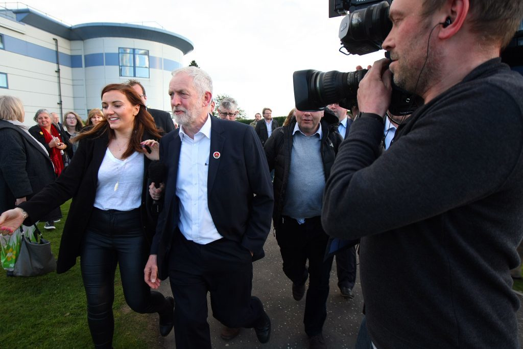 Labour leader, Jeremy Corbyn leaving Dunfermline's Carnegie Conference Centre with Kezia Dugdale and local candidate, Cara Hilton, having refused to speak to the press.