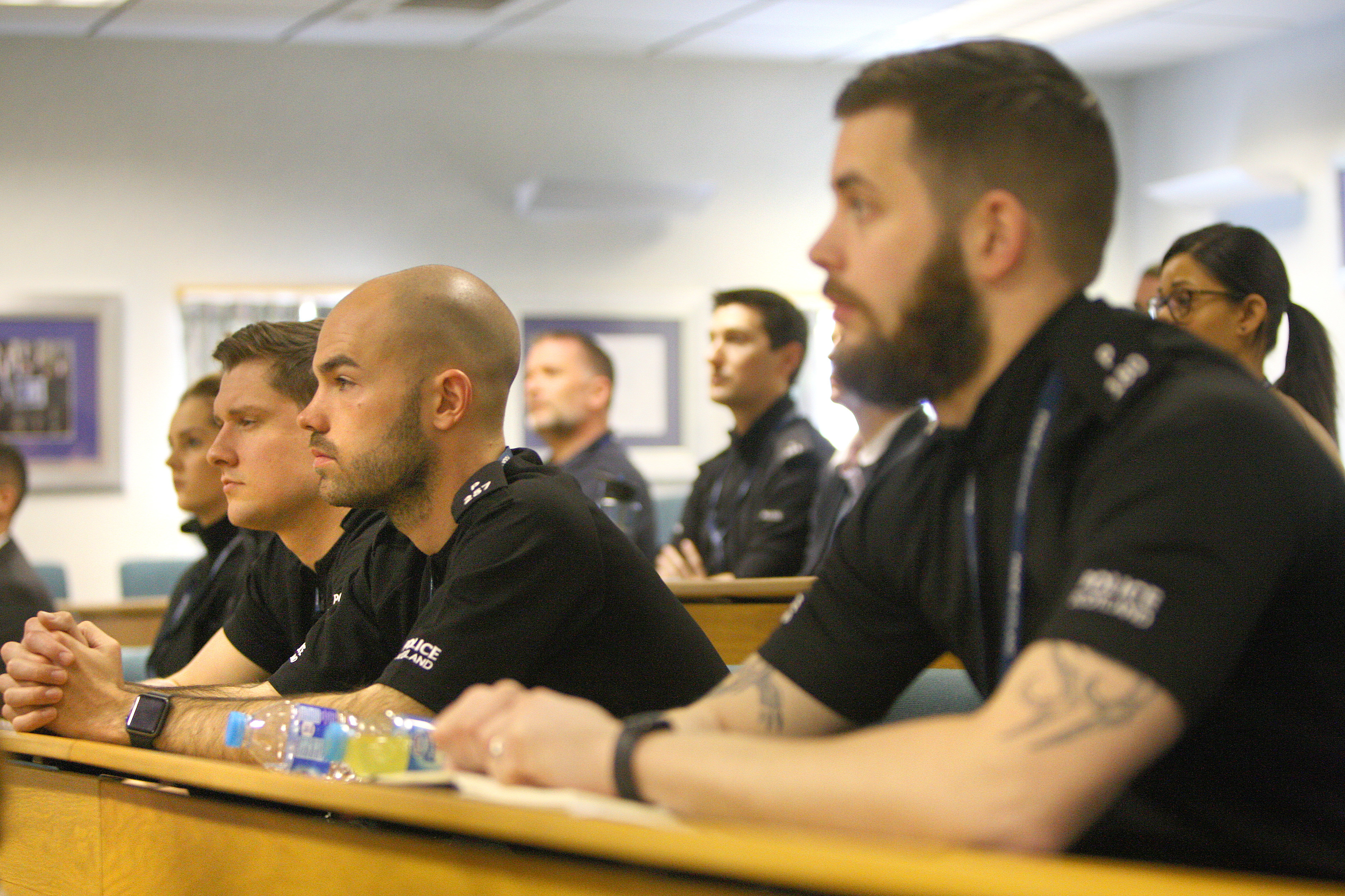 Police receiving their training in Glenrothes.
