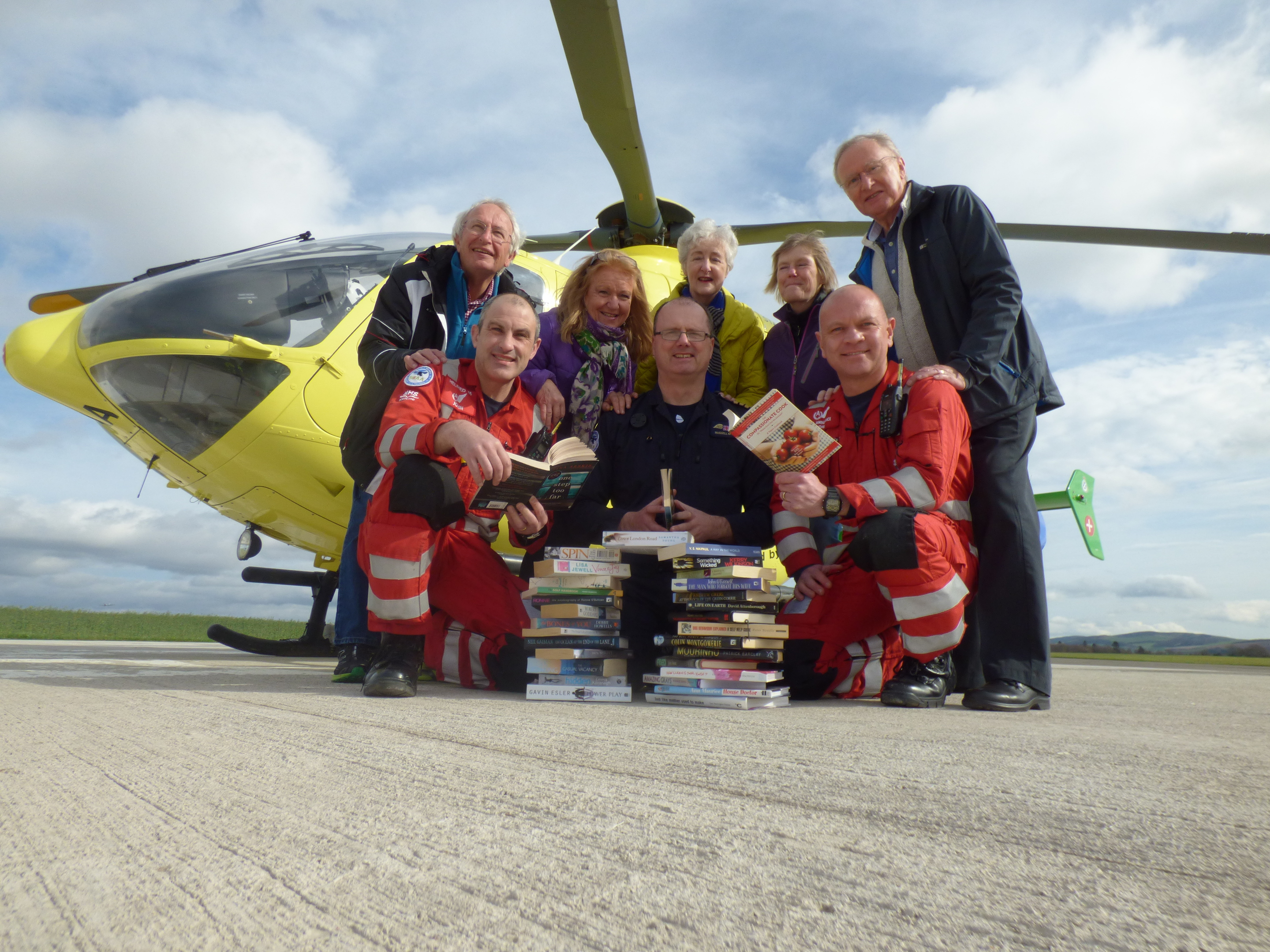 Volunteers from the Pitlochry Station Bookshop were invited to visit the Scotland's Charity Air Ambulance base at Perth Airport to meet the people involved in both the frontline emergency response team and the charity team.