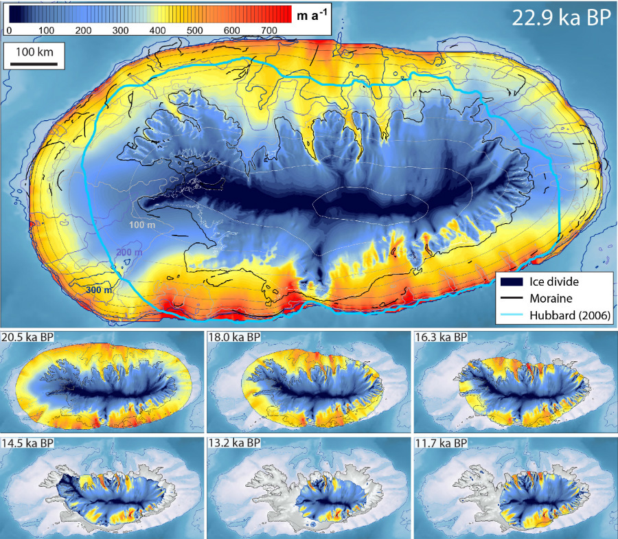 The model created by researchers at the universities of Stirling and Tromso shows the Icelandic ice sheet gradually reducing in size between 22,000 and 11,000 years ago.