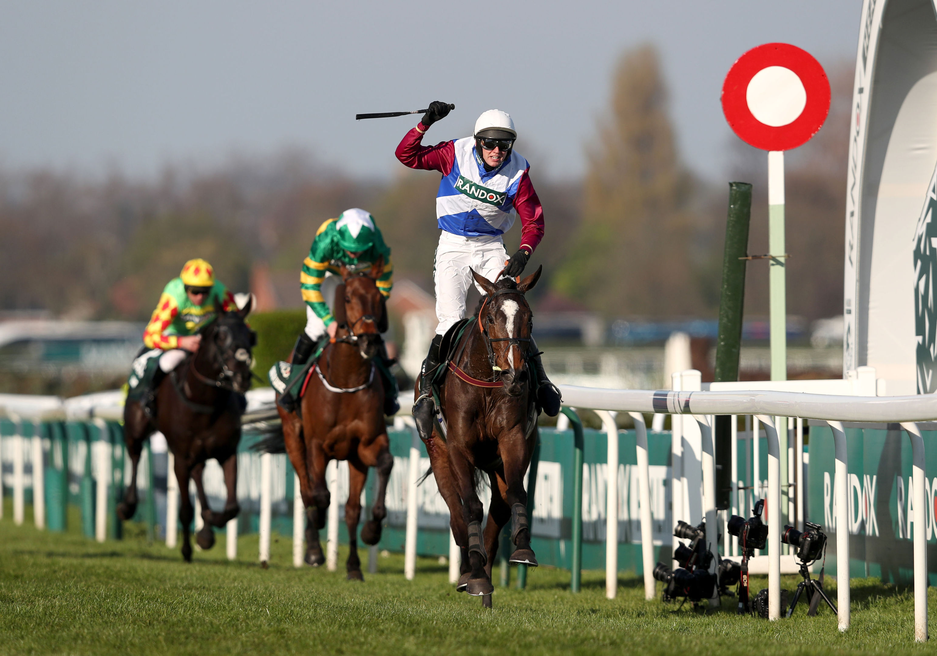 One For Arthur ridden by Derek Fox crosses the line to win the Grand National.