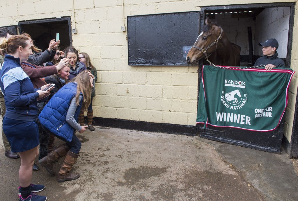 Crowds admire Grand National winner One For Arthur.