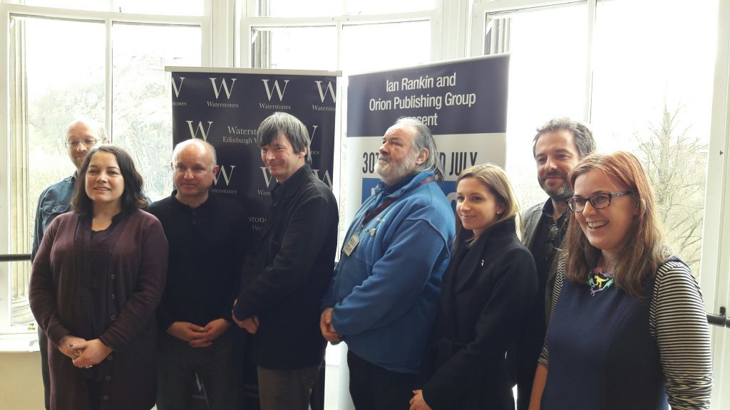 Ian Rankin is joined by publisher, sponsor and tour representatives at the launch of RebusFest in Waterstones book store, Edinburgh