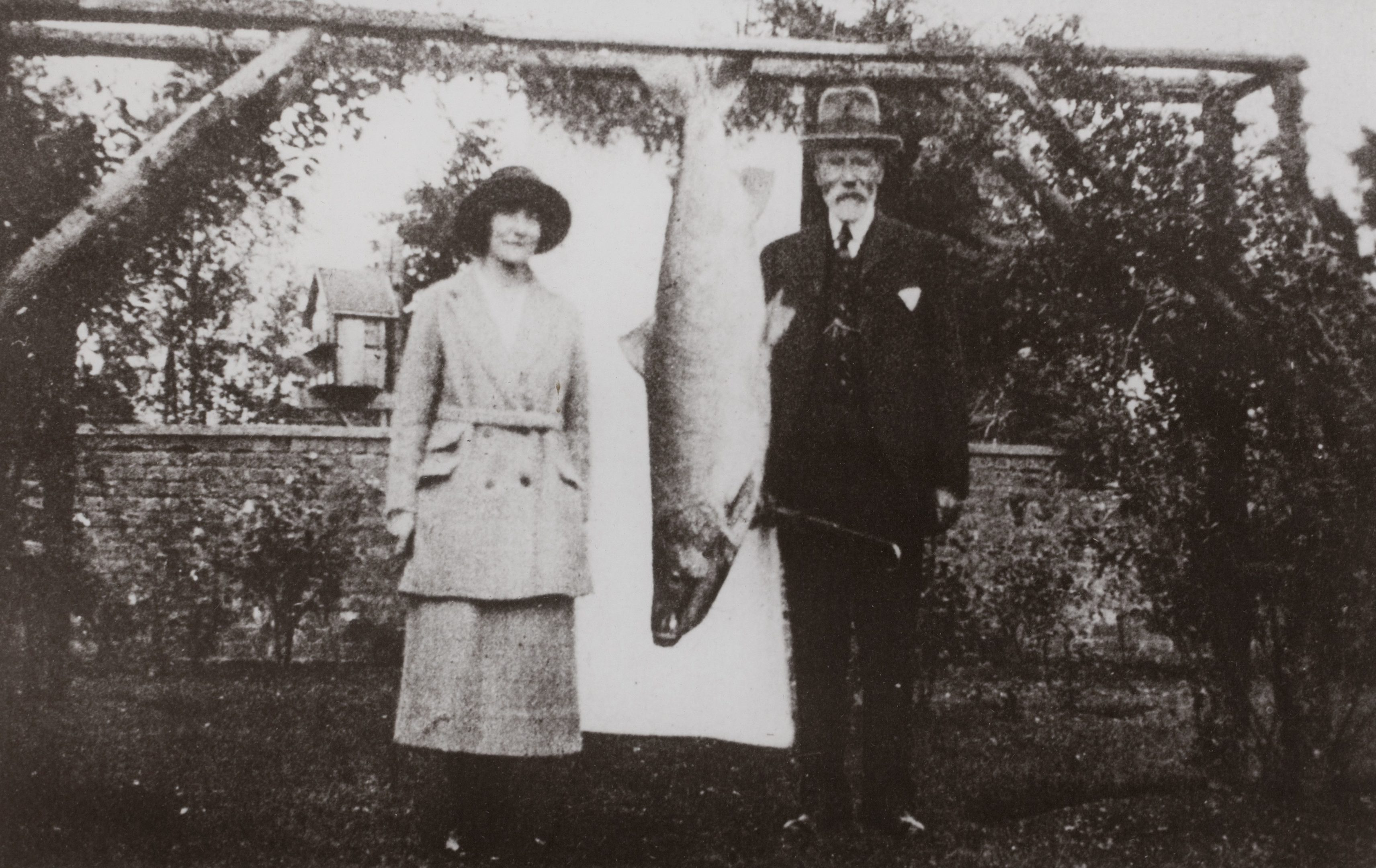 Georgina Ballantine with her father and the salmon.