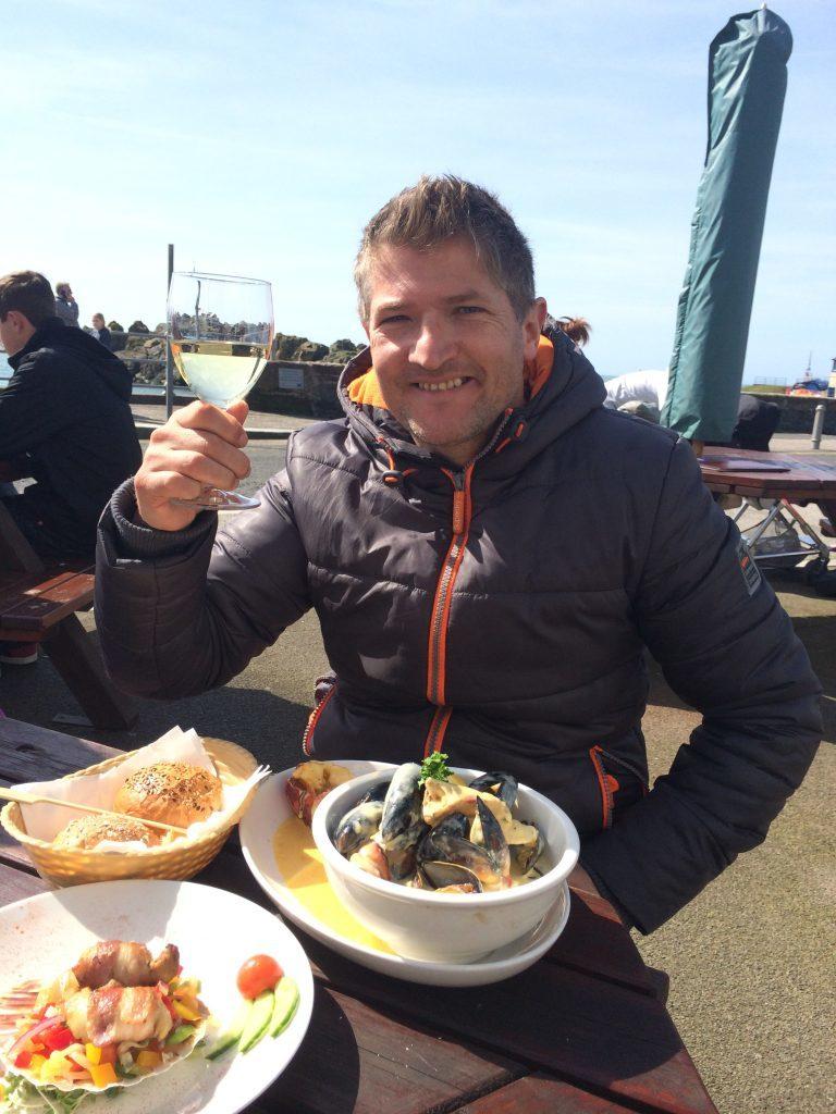 Robin enjoying seafood at The Crown.