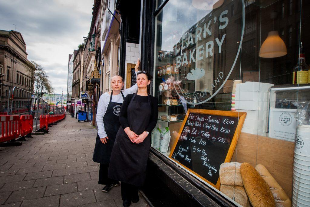 "Clarks Bakery staff. Vaiva Kielaite (left) and Sharon Milne (right) said the shop has been ""dead"""