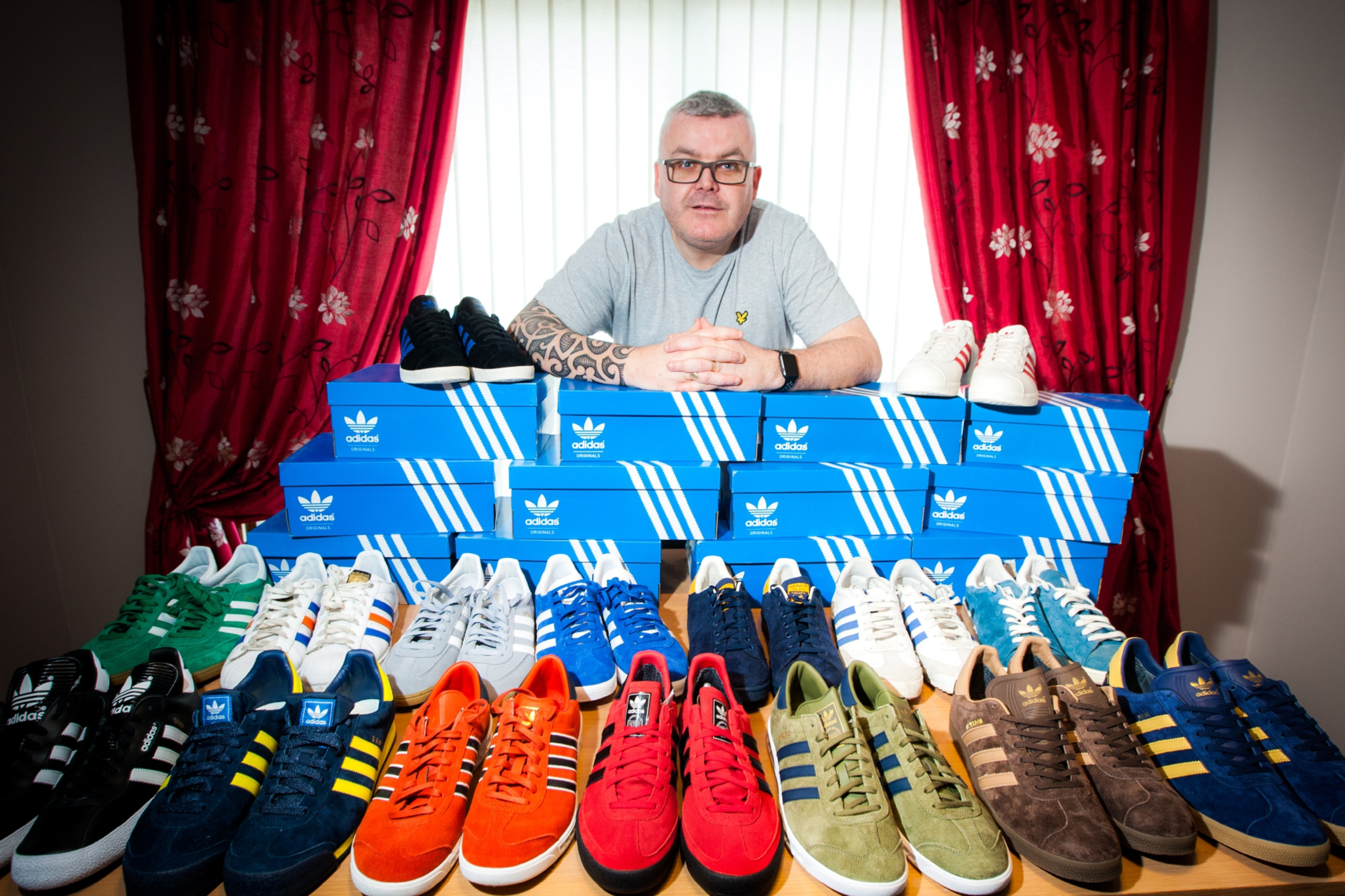 Alan Stewart with a small selection of his Adidas trainer collection.