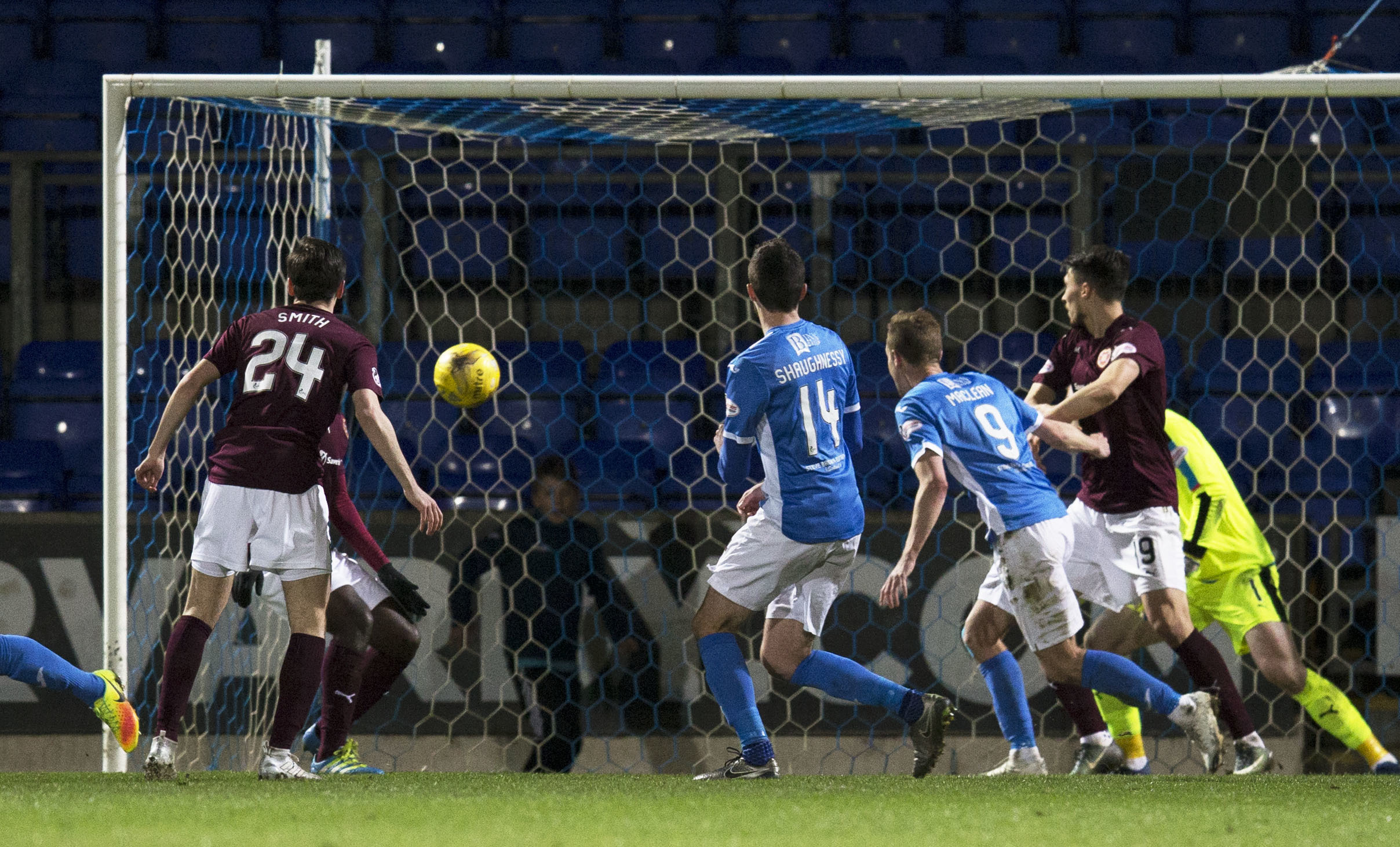 Joe Shaughnessy netting against Hearts.