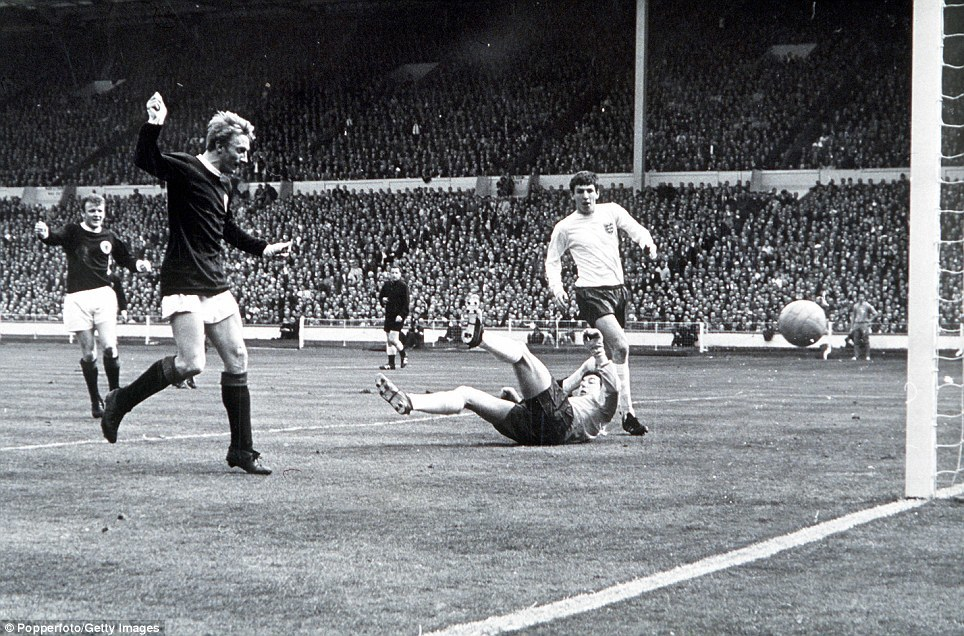 Denis Law scores Scotlands first goal against England in the 3-2 victory of April 15 1967