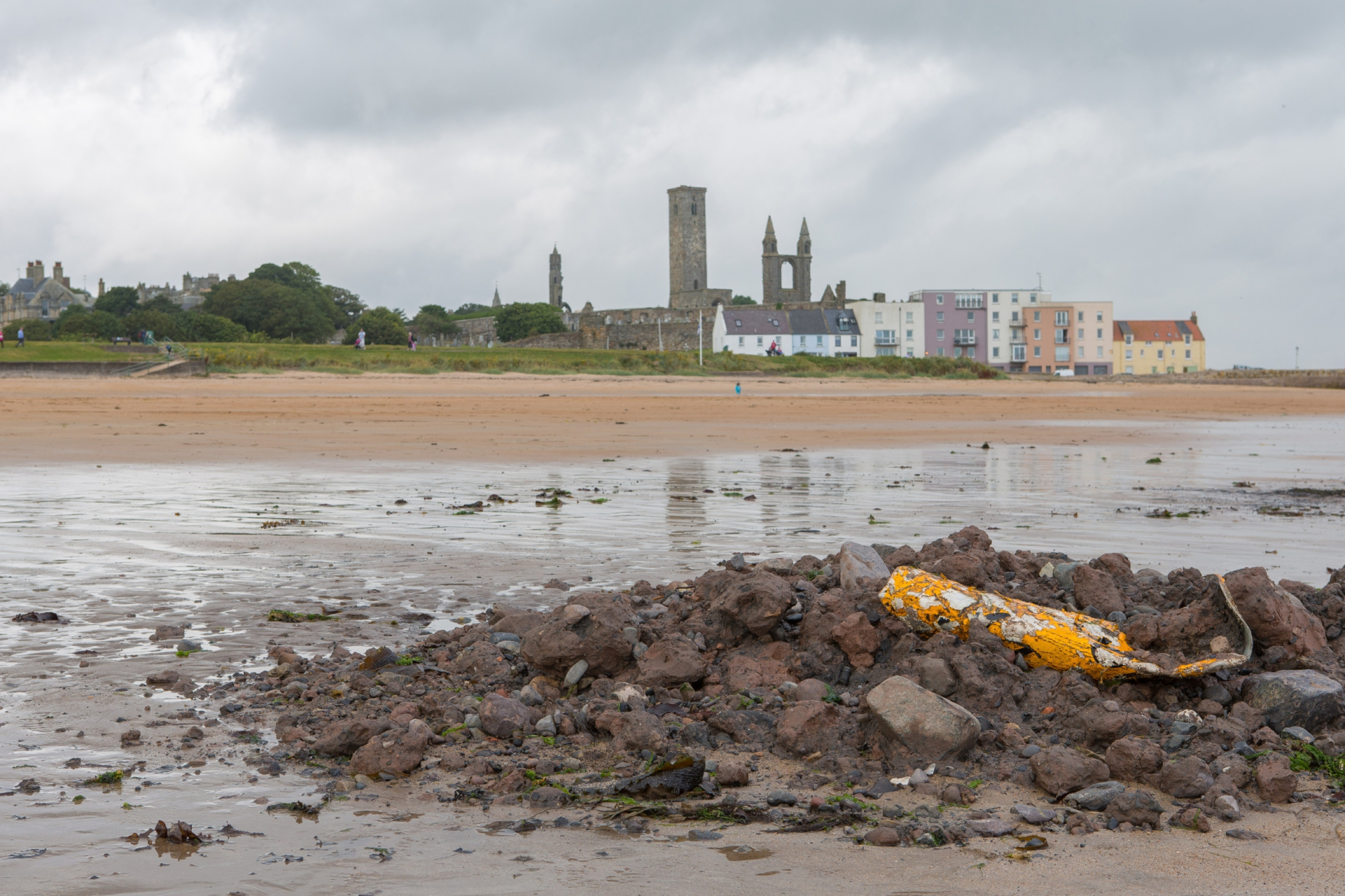 Piles of dredged material were dumped on St Andrews' East Sands last summer