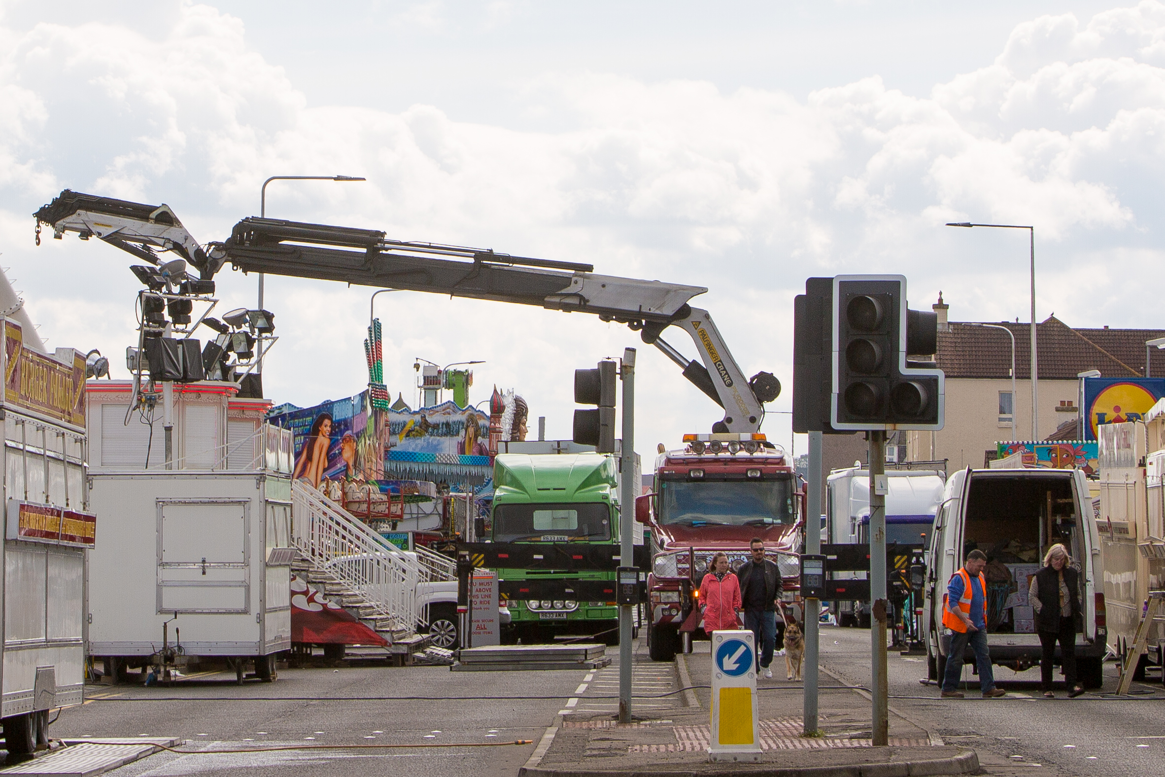 Road closures in place while the fun fair is set up.