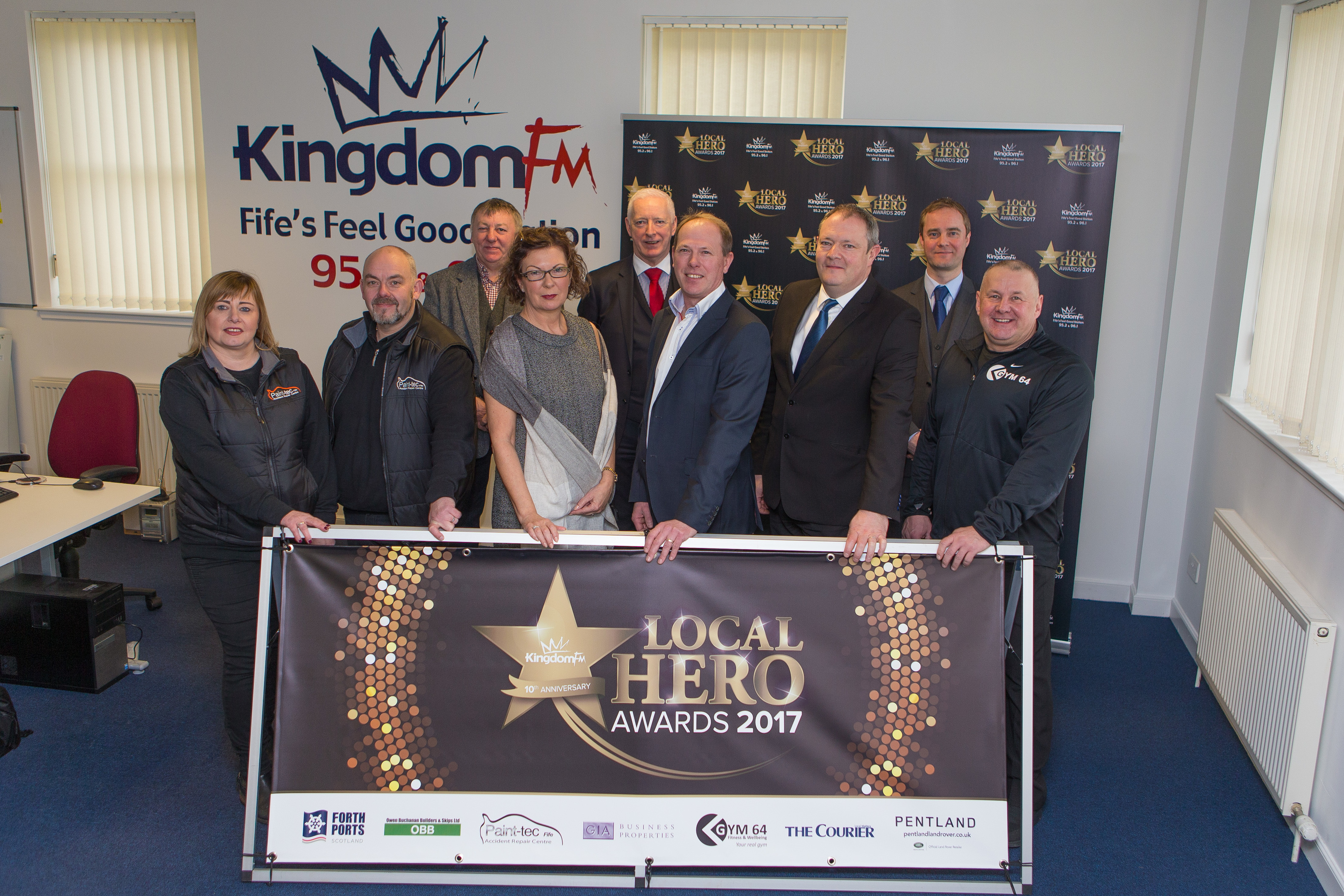 The launch of this year's Local Hero Awards with the sponsors Paint Tec Accident Repair Centre, Gym Sixty-Four, GIA Business Properties Ltd, Forth Ports, The Courier, Owen Buchanan Builders.