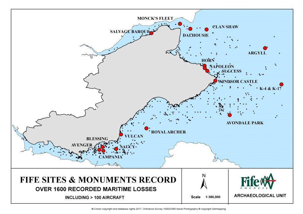 Fife Council archaeology unit map showing sites of the 1600 or so wrecks around the Fife coast