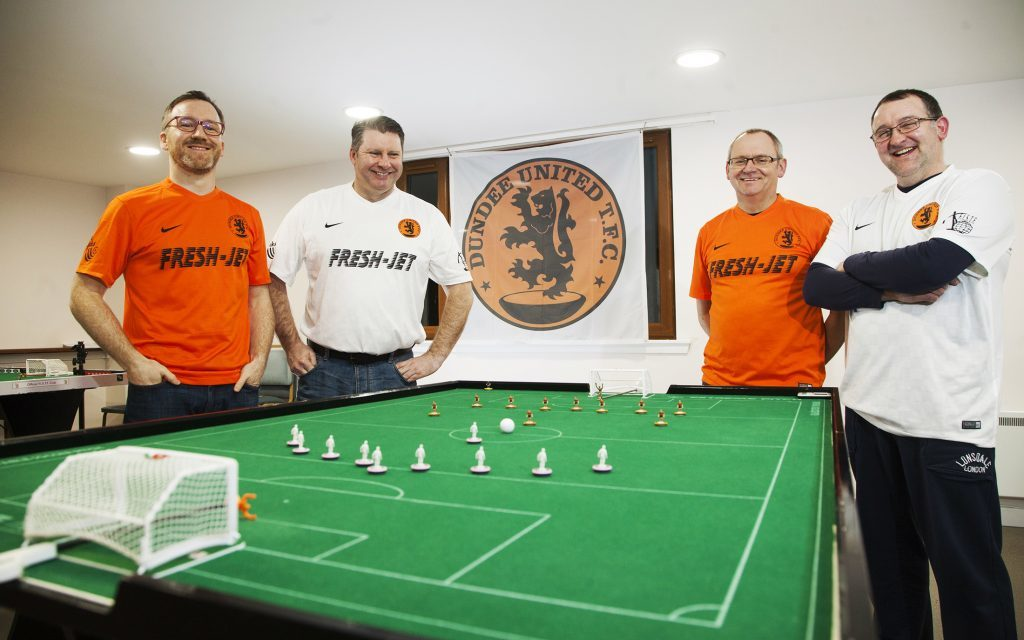 Members of the Dundee United Table Football Club at Letham Church Hall, Letham. Picture shows L to R: Gareth Christie; Steve Bennett;David Baxter and David Minty