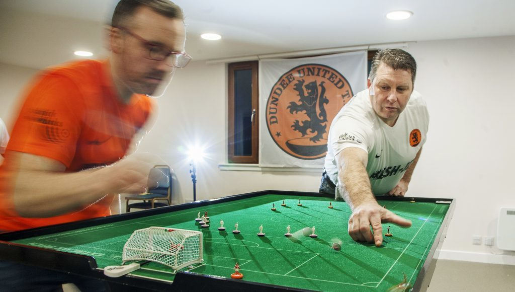 Dundee United Table Football Club members Steve Bennett (right) with Gareth Christie
