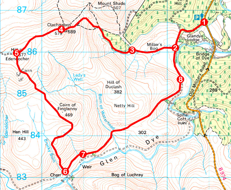 Take a Hike 161 - April 22, 2017 - Clachnaben, Fettercairn, Aberdeenshire OS map extract