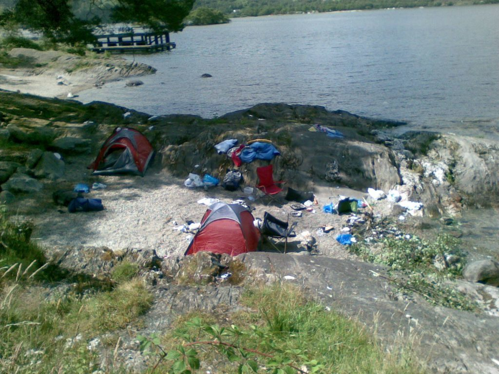 Abandoned camping equipment on the shores of Loch Lomond