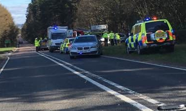 Police and ambulance crews at the accident scene.