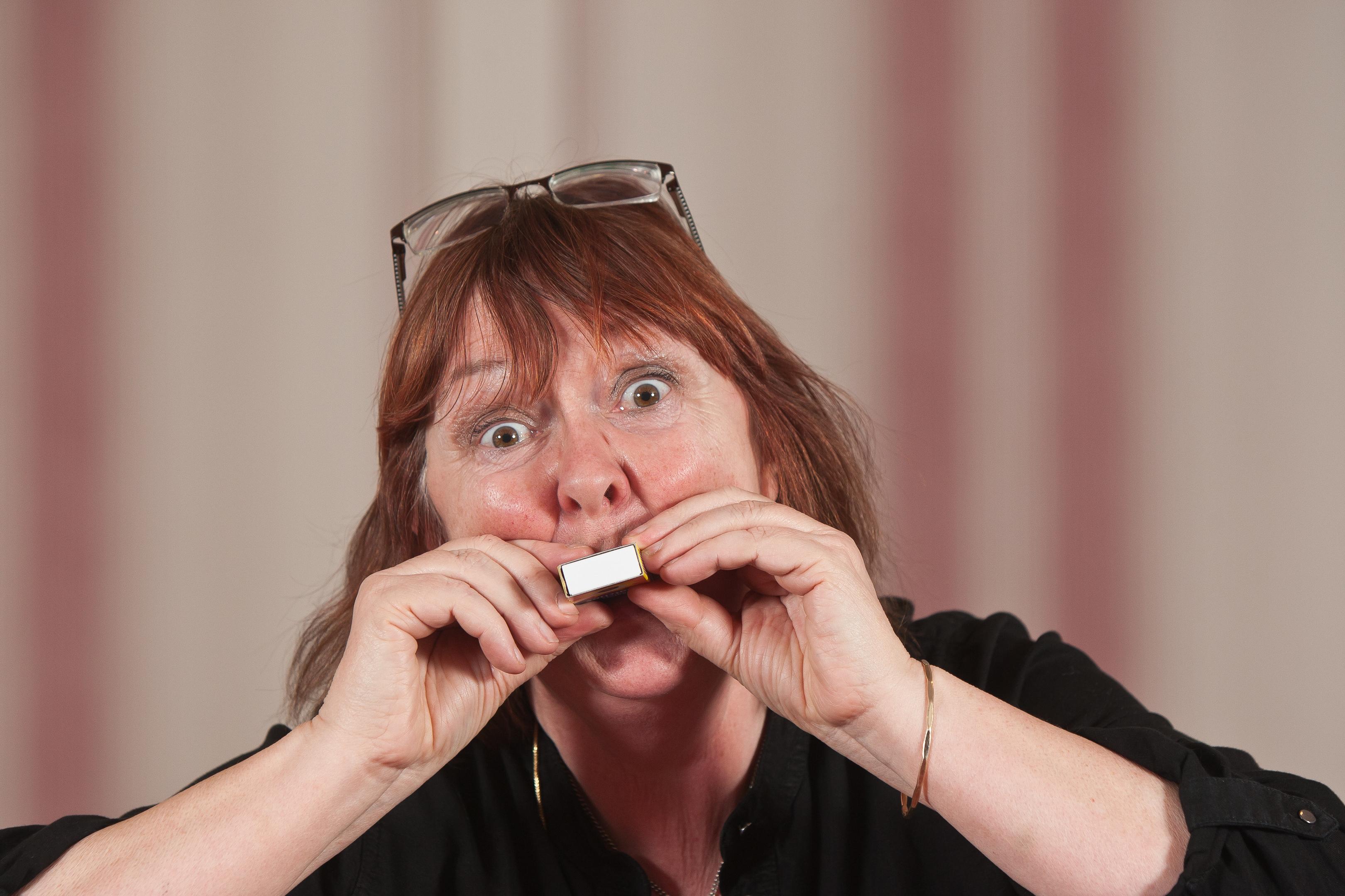 Irene Paterson, winner of the matchbox Puff-A-Box Challenge, part of the Glenfarg Folk Festival.