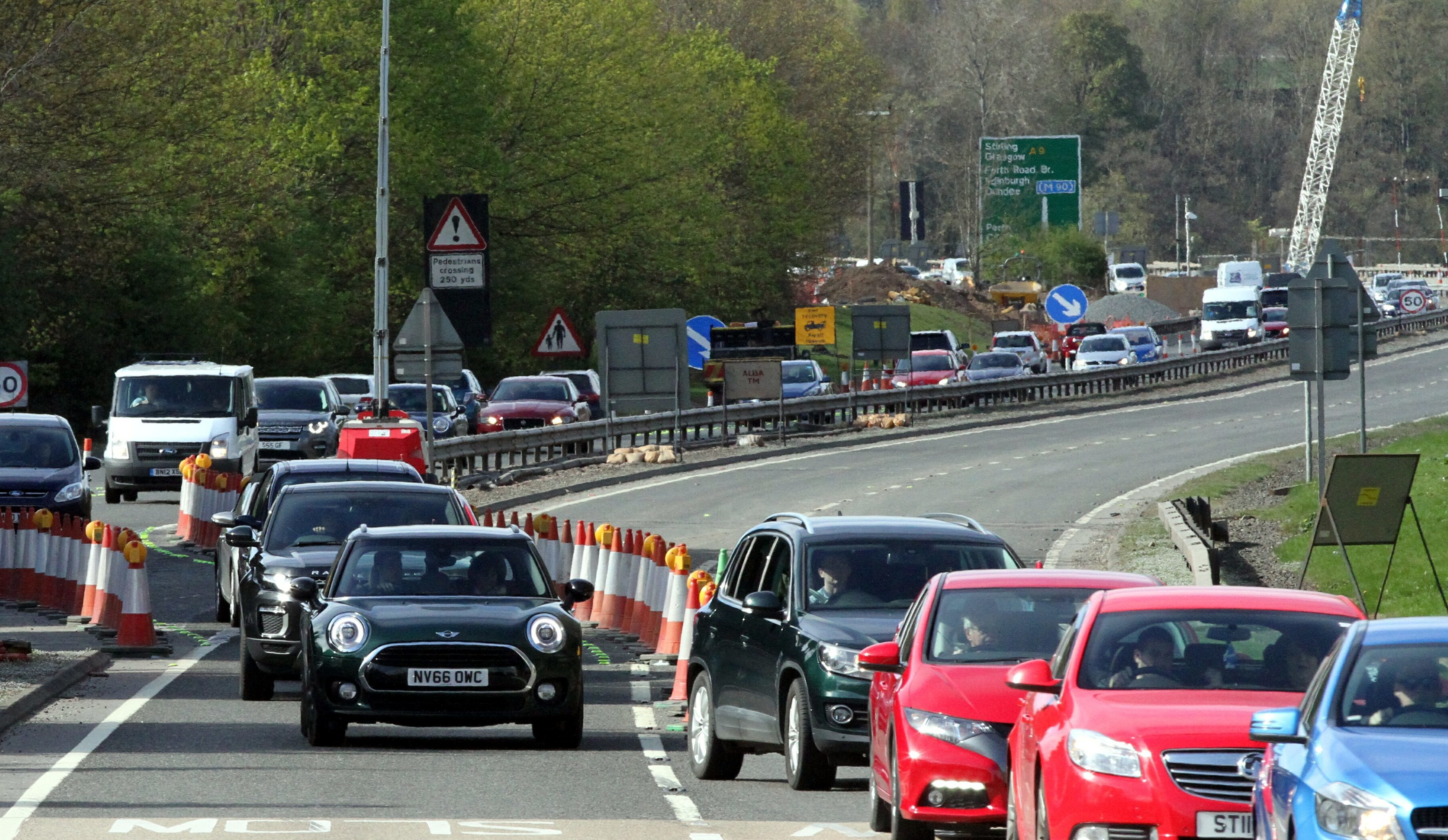 Traffic queuing near the Inveralmond junction on Saturday.
