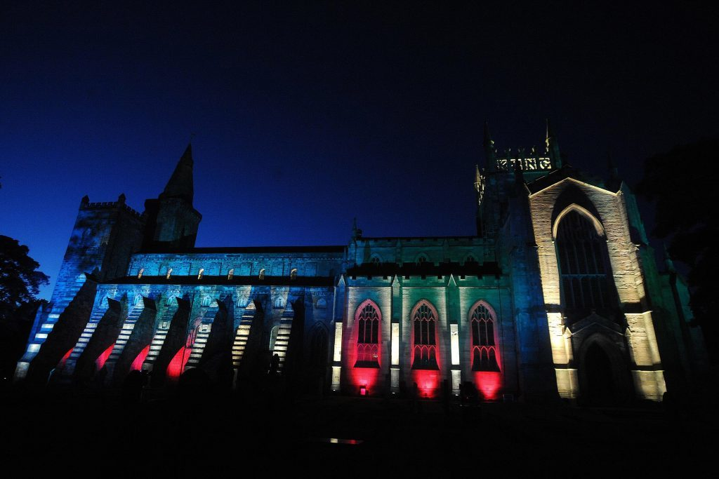 Dunfermline Abbey lit up at night.