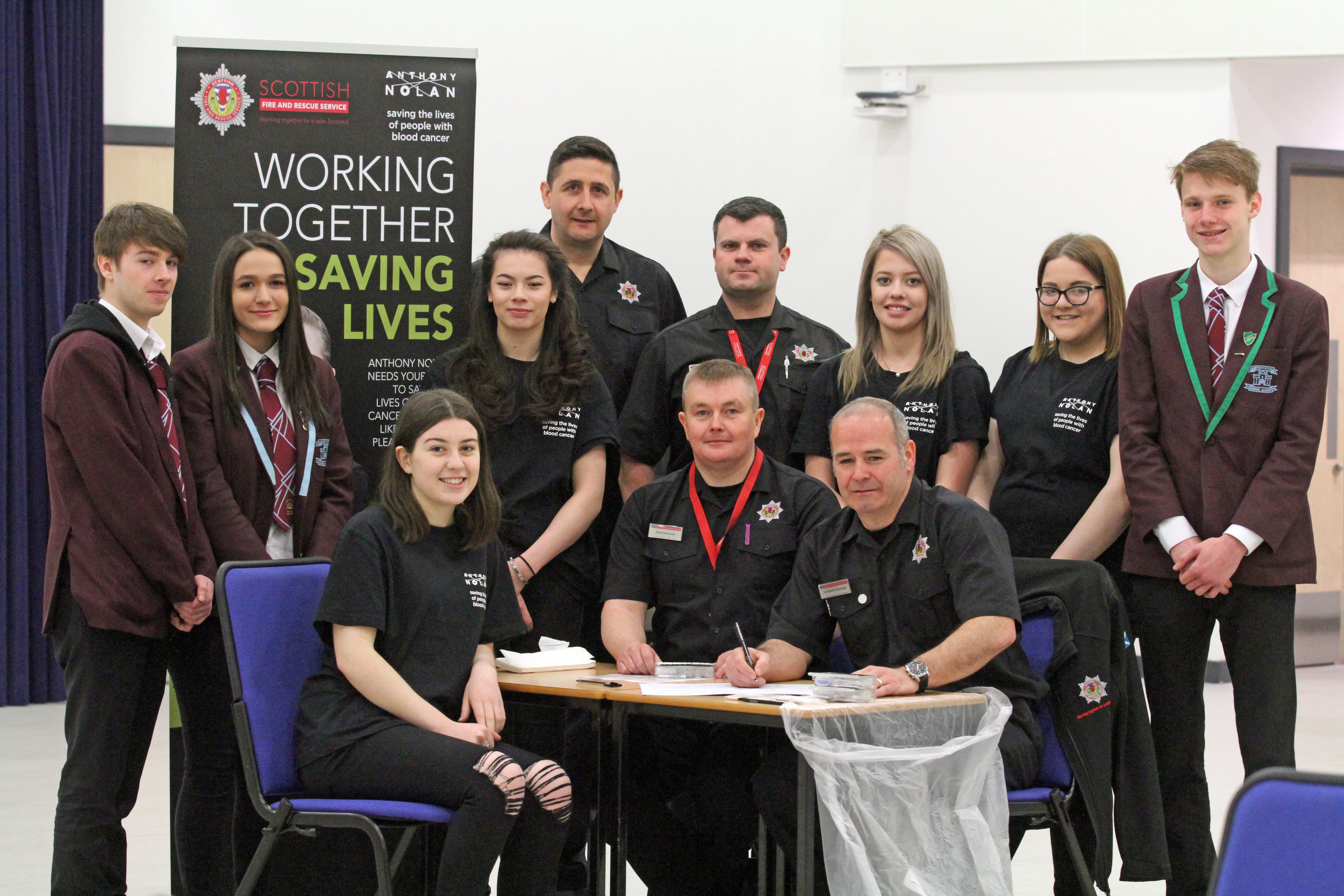 Academy champions and SFRS personnel involved in the Forfar event