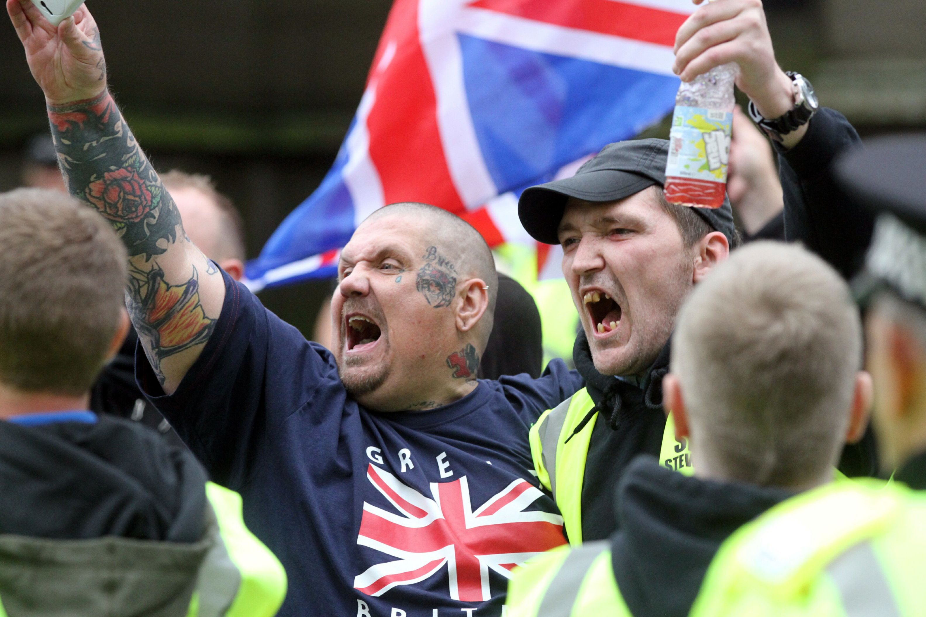Members of the SDL taunt members of Dundee Together during counter demonstrations in the city centre in 2013.