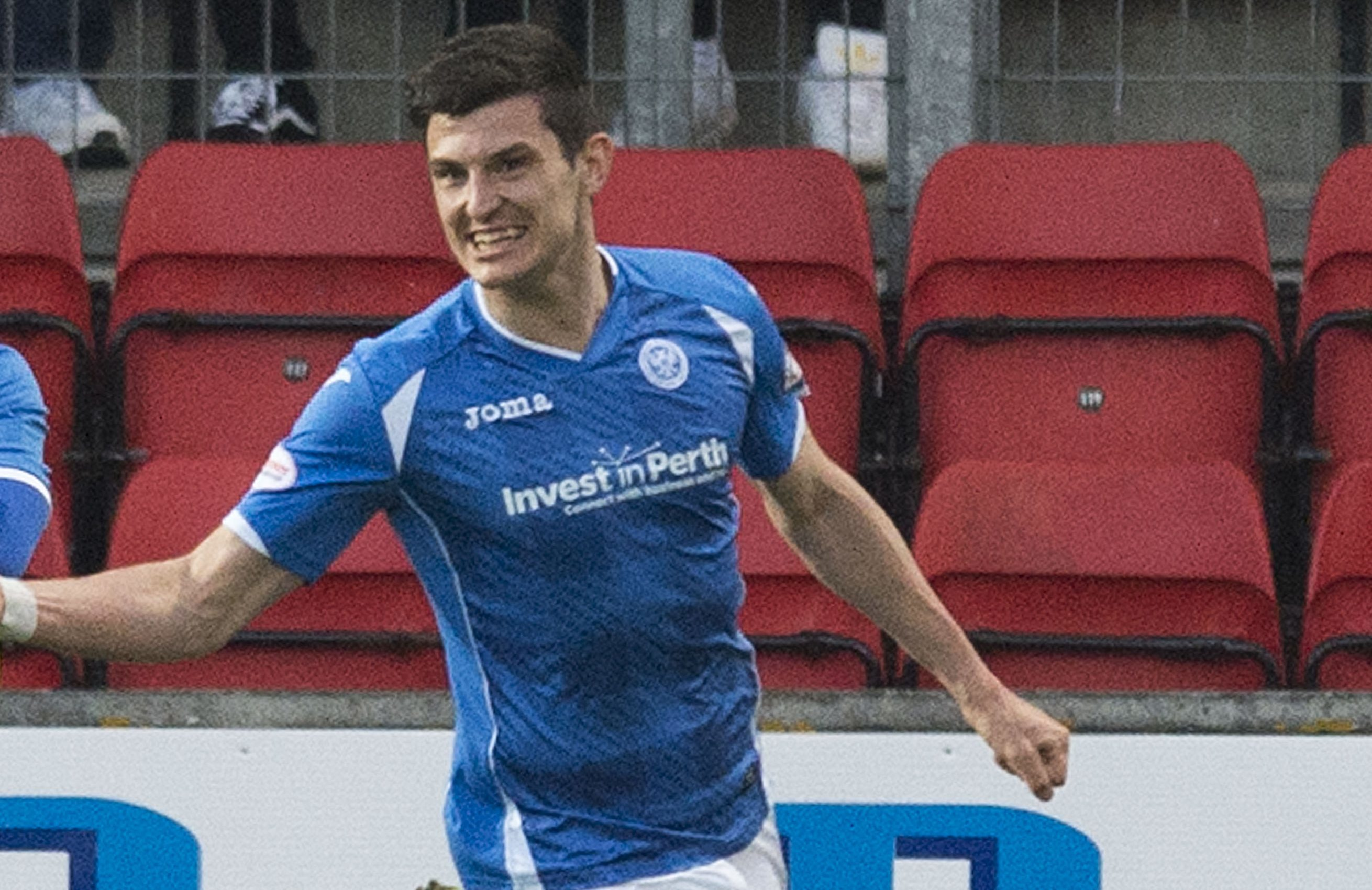 Graham Cummins celebrates his goal against Celtic last season.