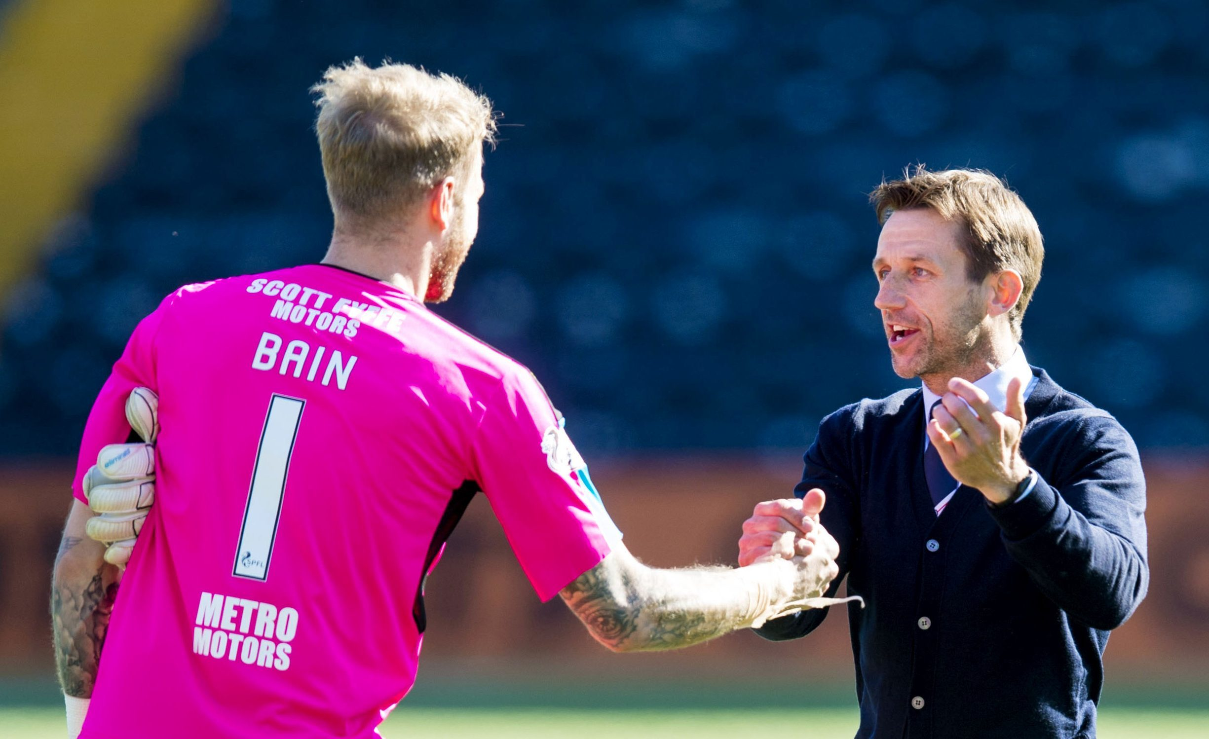 Scott Bain and Neil McCann at full-time on Saturday.