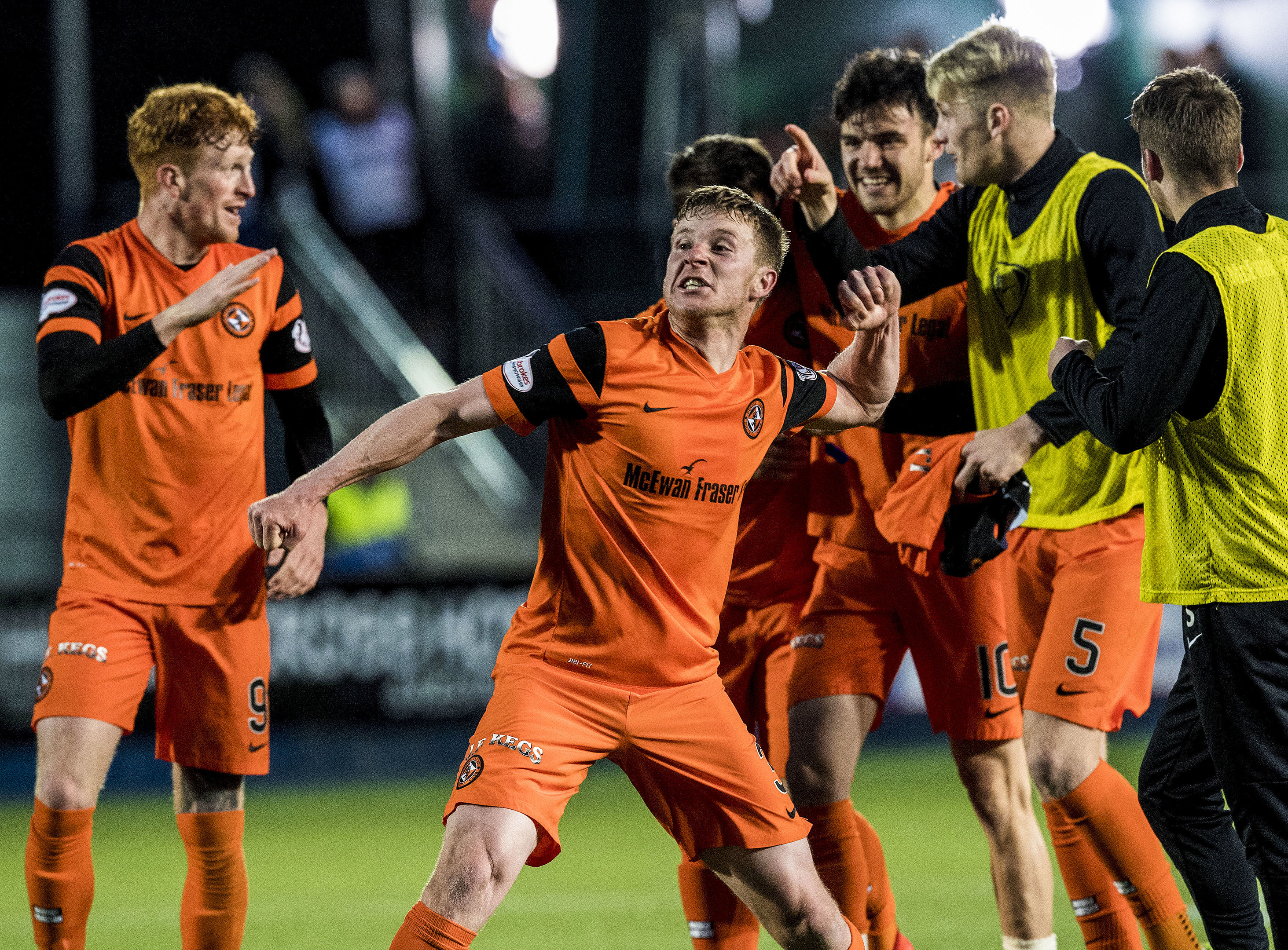 Paul Dixon after securing the victory against Falkirk in the play-offs.