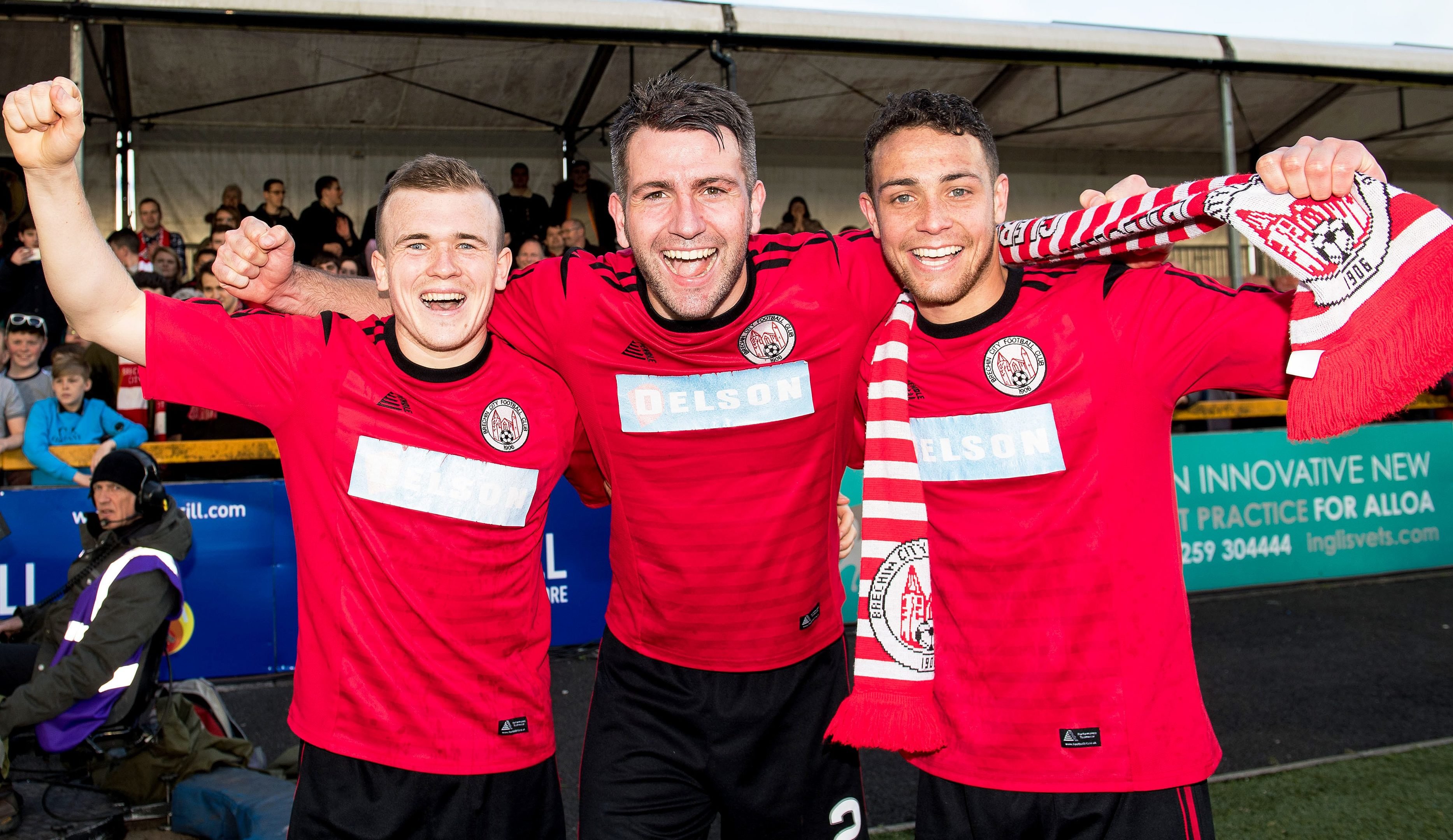 Brechin's Liam Watt, Paul McLean and James Dale at full time.