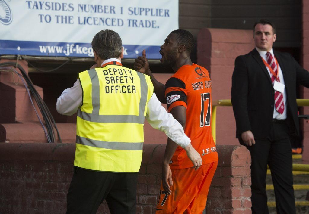 25/05/17 LADBROKES PREMIERSHIP PLAY-OFF FINAL 1ST LEG DUNDEE UNITED v HAMILTON TANNADICE - DUNDEE Dundee United's Wato Kuate walks down the tunnel after being substituted.