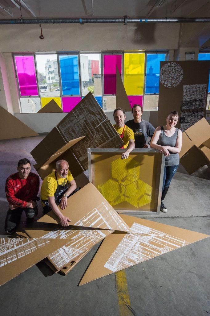 Print City team: L to R: Henri Meadows, Paul Liam Harrison, Scott Hudson, Adrian Murray, Sarah Burt