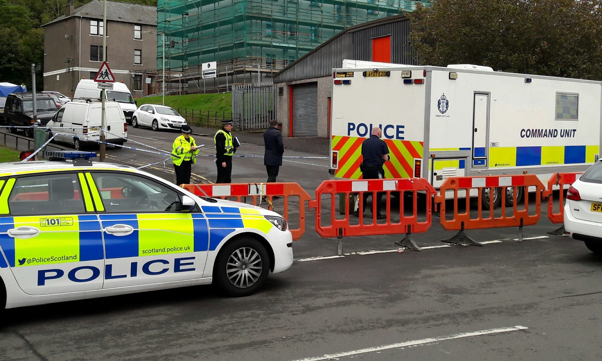 Part of the major police presence in Lawton Road.