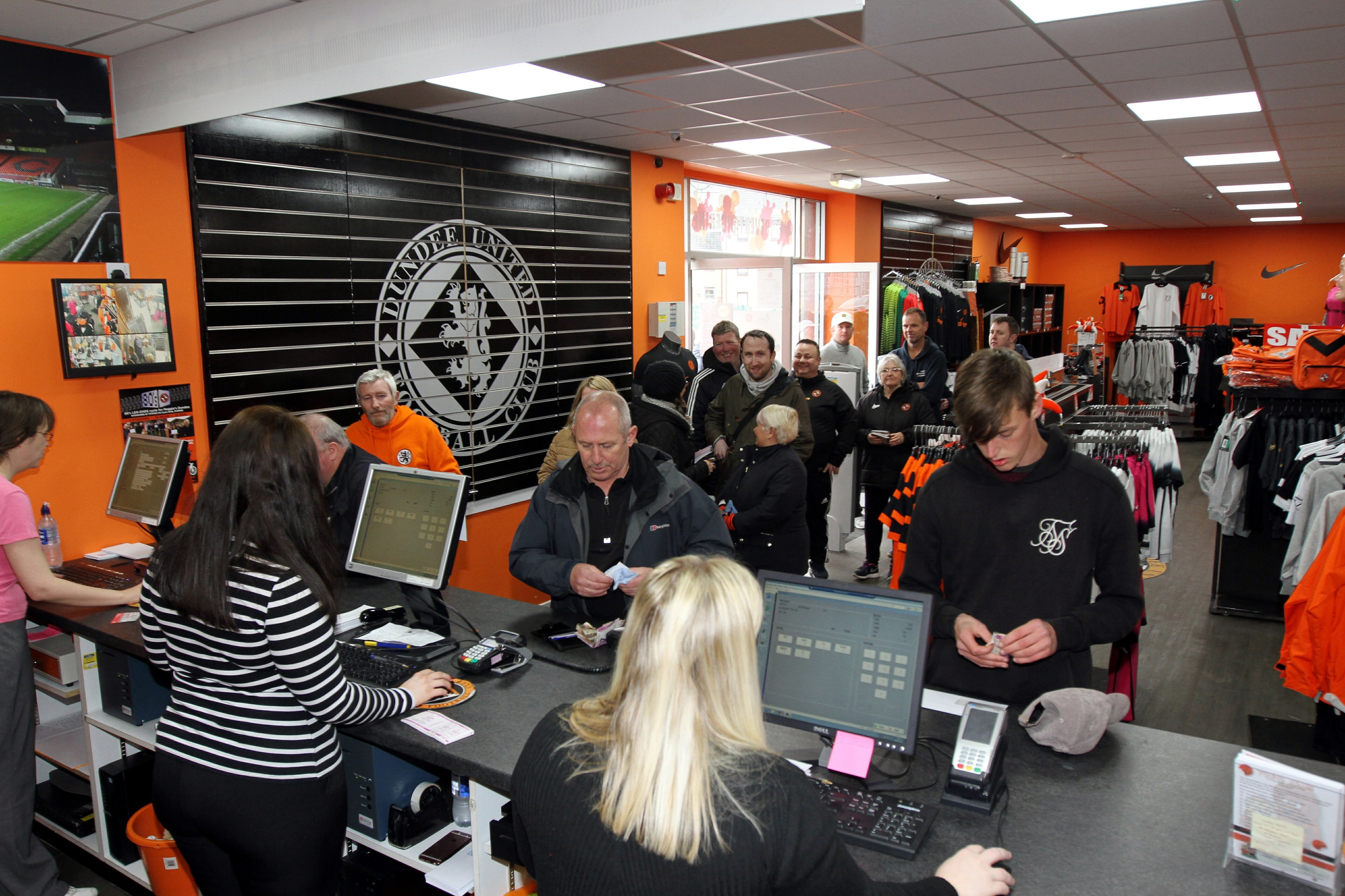 Fans waiting to get tickets from the Dundee United club shop on Wednesday.