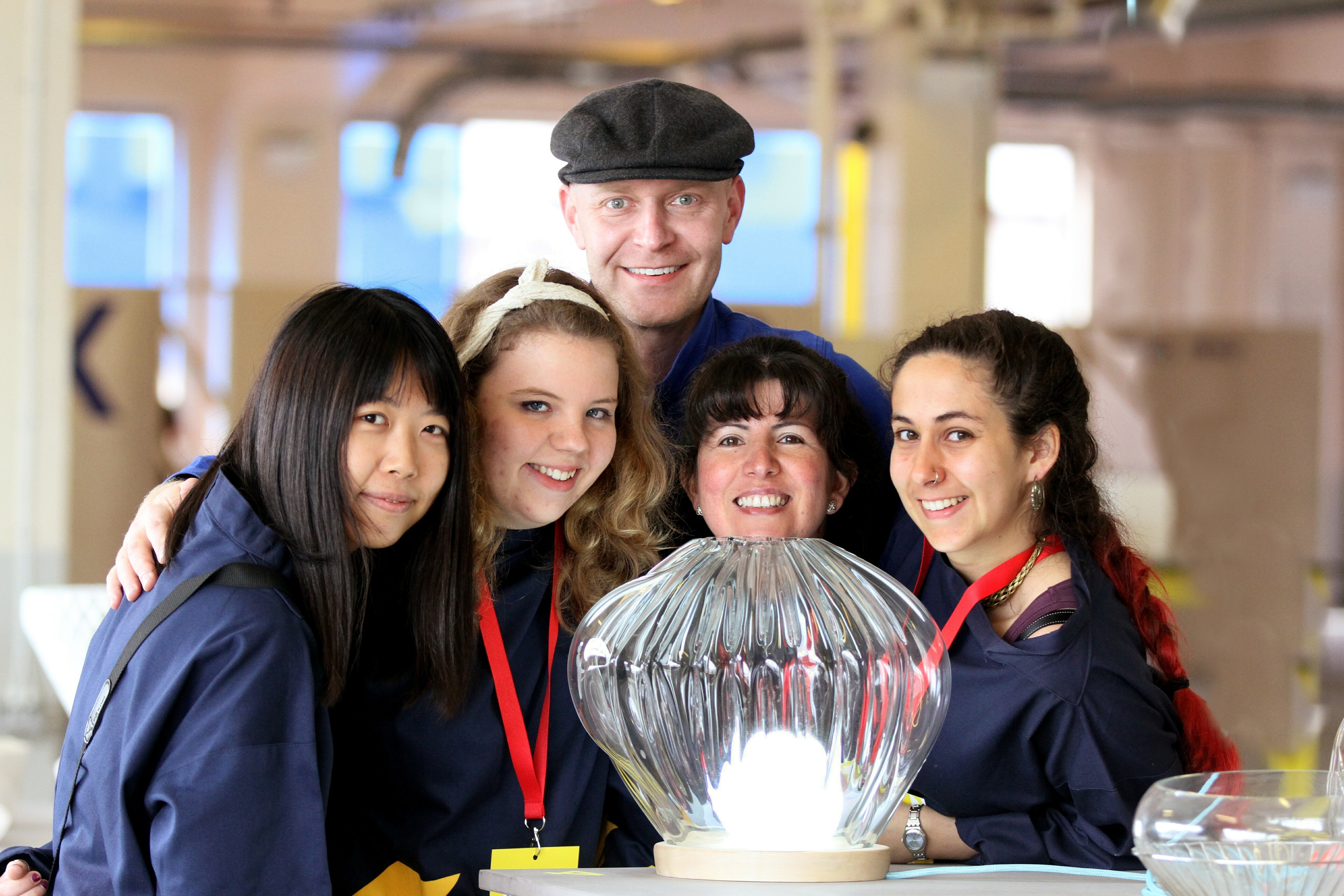 Curator Sion Parkinson with festival volunteers Shaoyuan Wang, Hannah Richardson, Nalma Todd and Angelica Russell.
