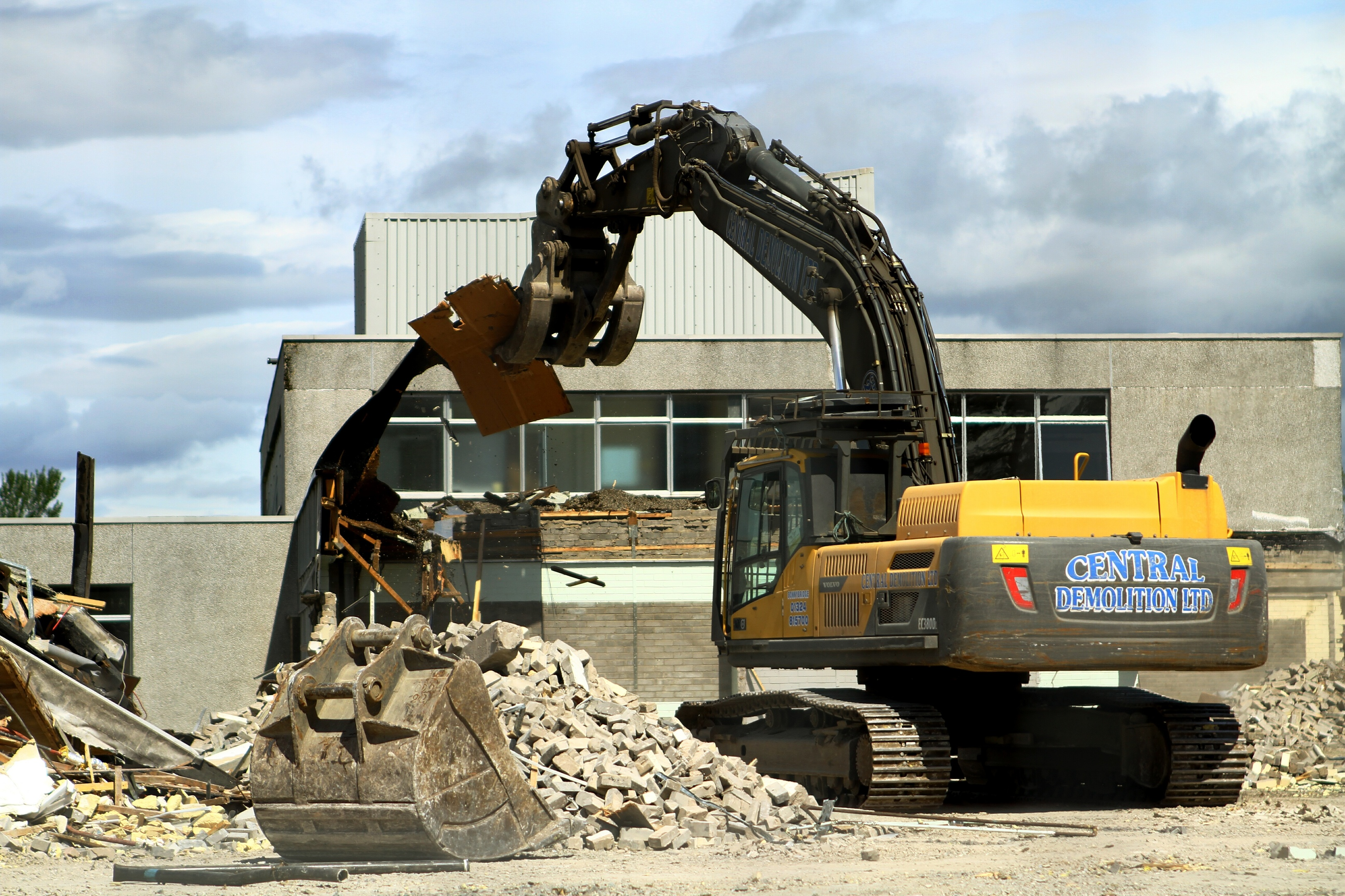 Machinery at the former Forfar Academy beside the community wing on Wednesday