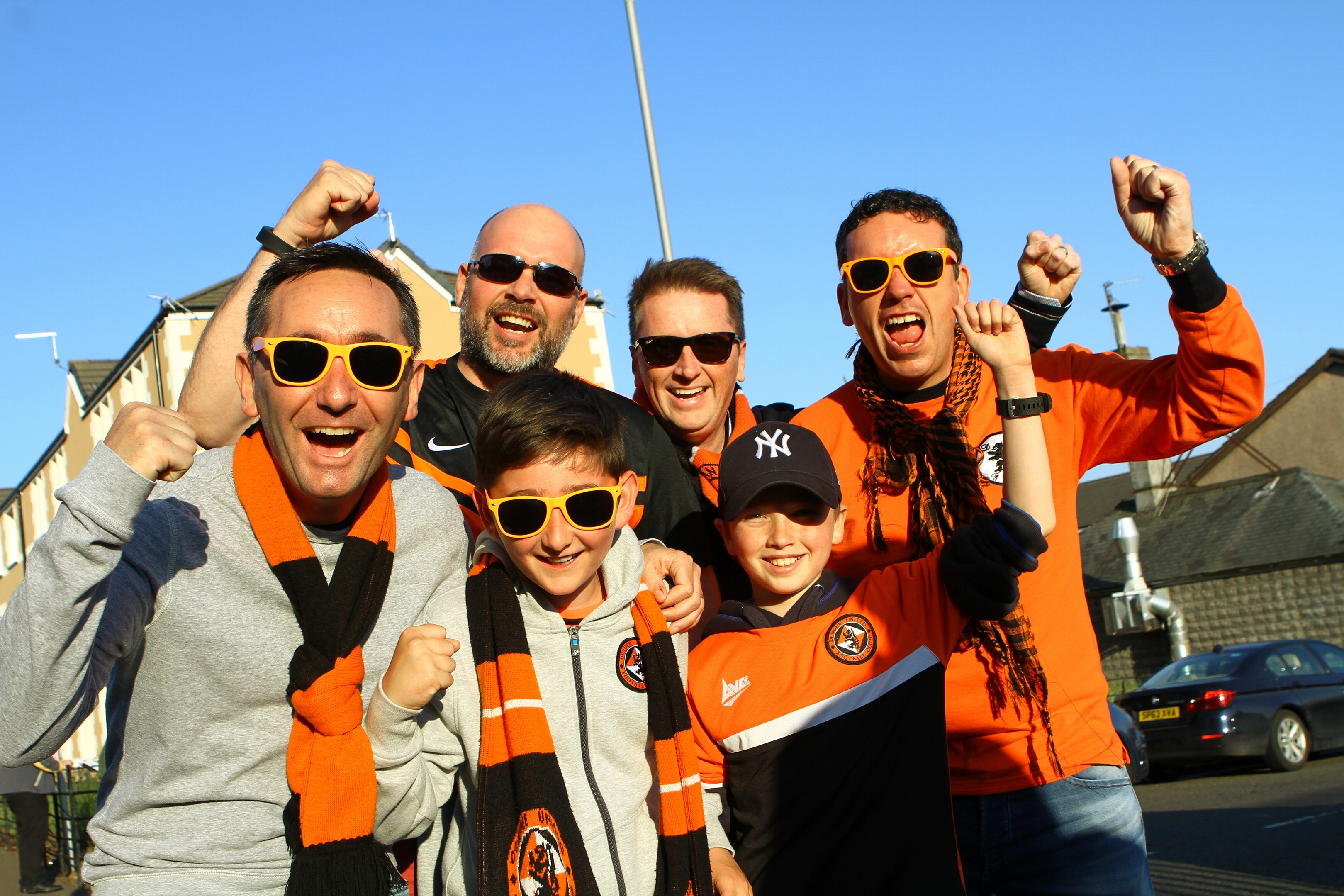 A happy bunch of United fans before the first leg of the play-off final between Dundee United and Hamilton, at Tannadice.