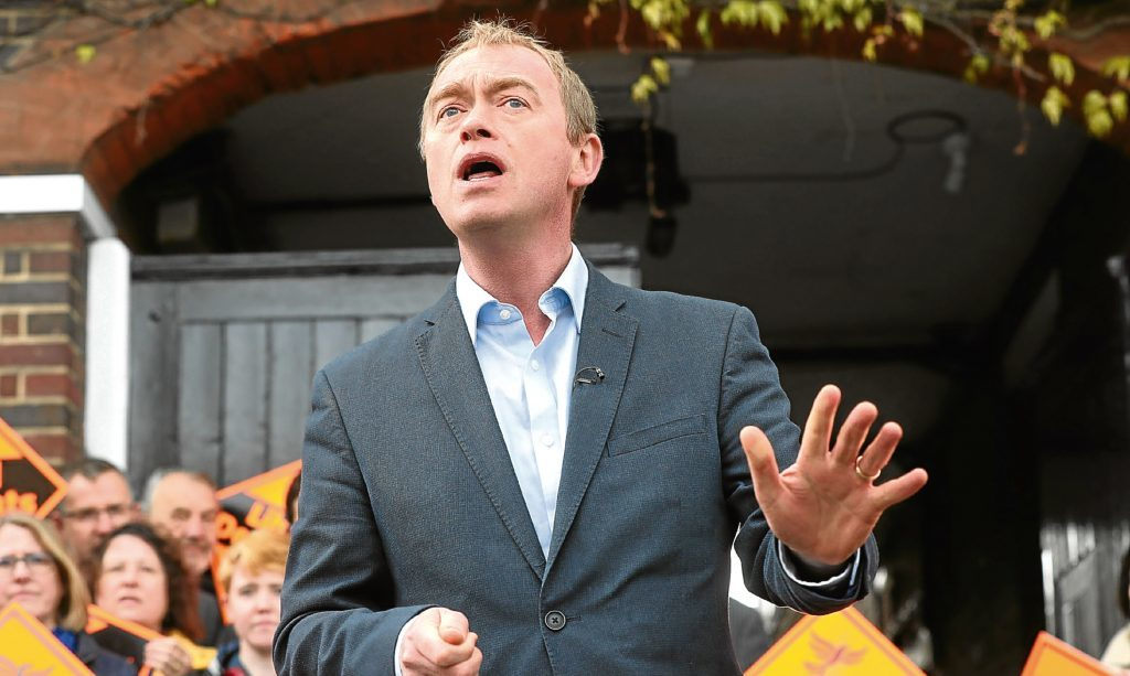 Tim Farron makes a campaign address.