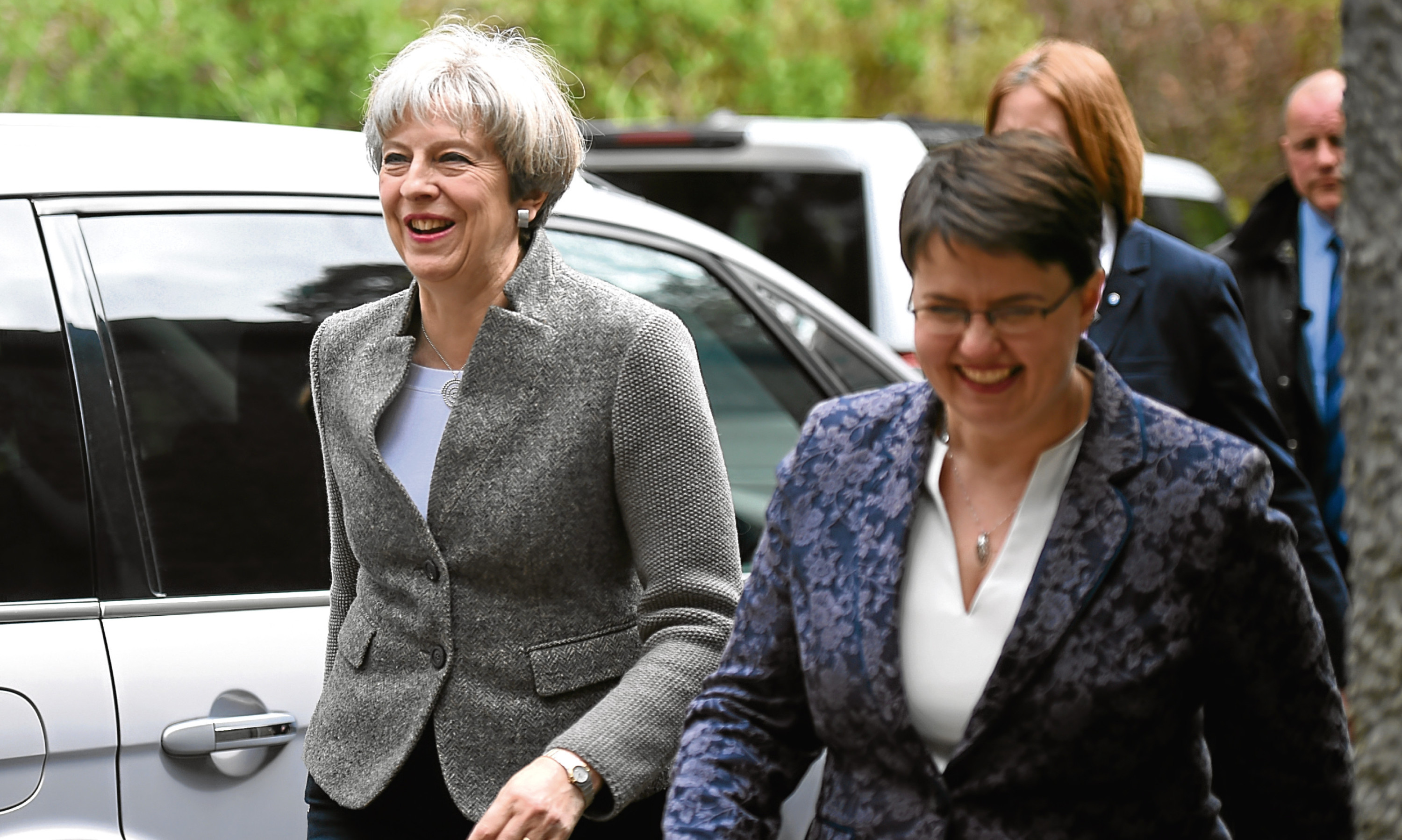 Theresa May and Ruth Davidson at Crathes.