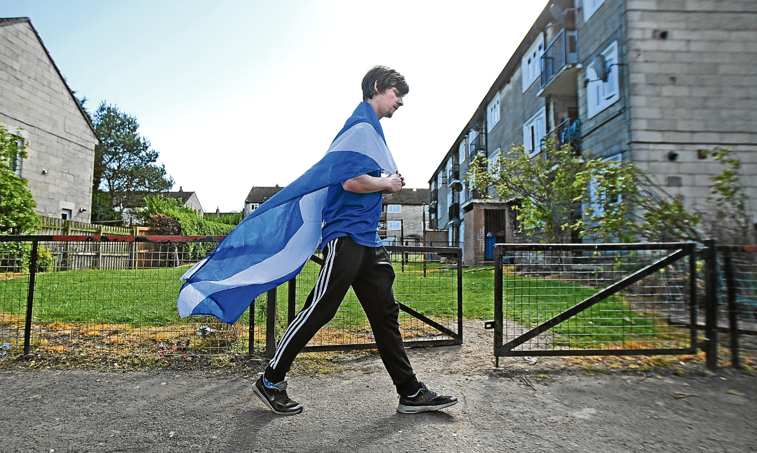 Lee McGregor pictured in Ballater Place, Dundee, where 99% of residents describe themselves as Scottish not British.