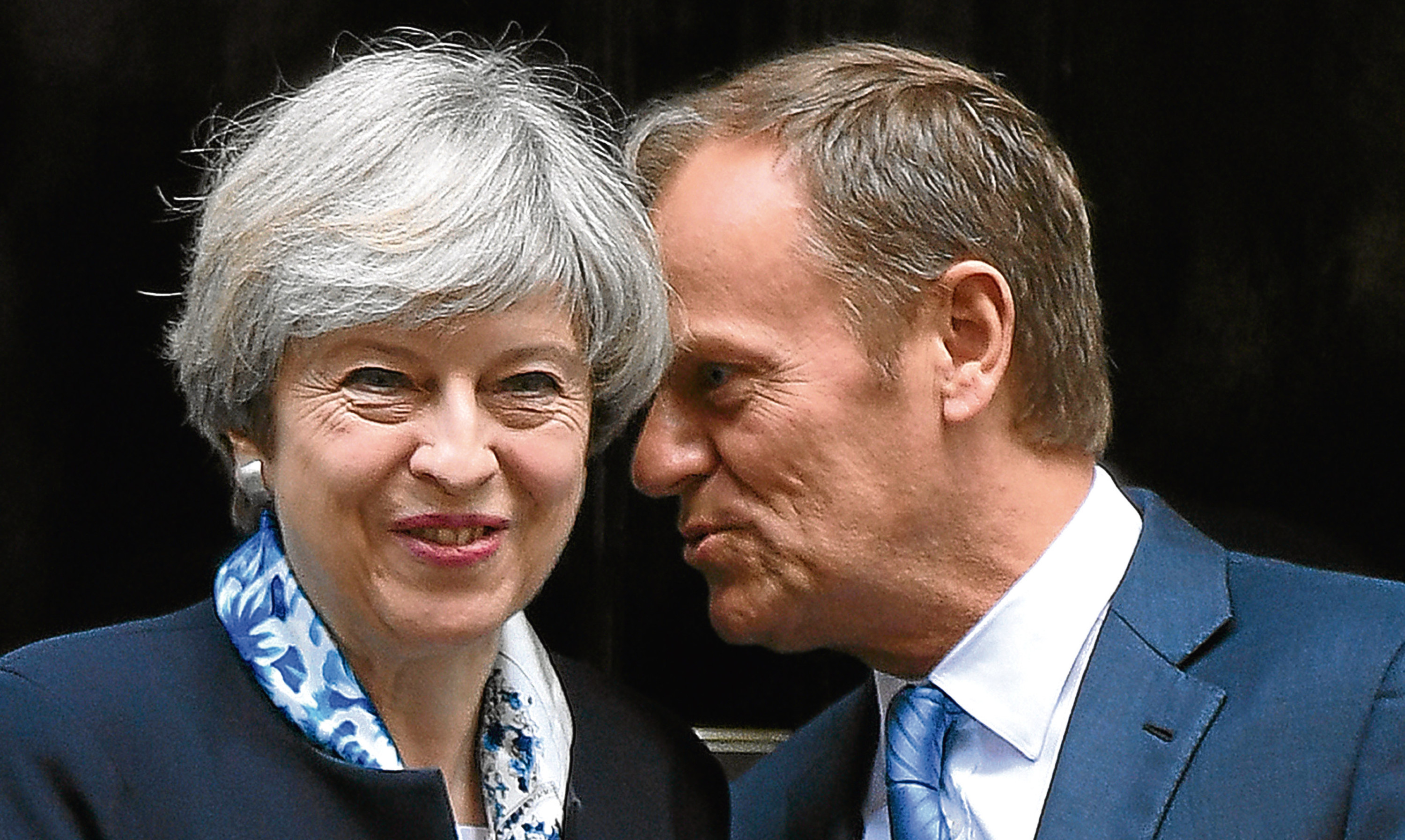 Prime Minister Theresa May greets European Council president Donald Tusk outside 10 Downing Street.
