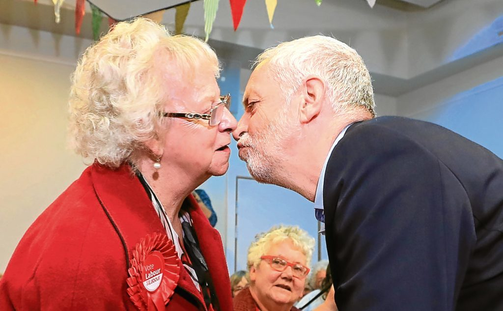 Jeremy Corbyn greets former Halifax MP Alice Mahon, 79, at Hebden Bridge Town Hall, during a General Election campaign visit.