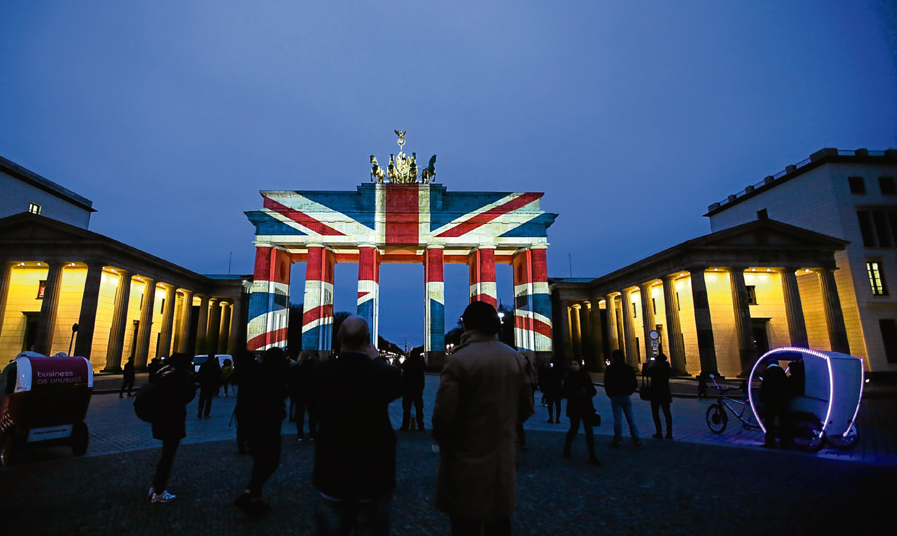 Berlin's Brandenburg Gate is illuminated in tribute to the Manchester victims.