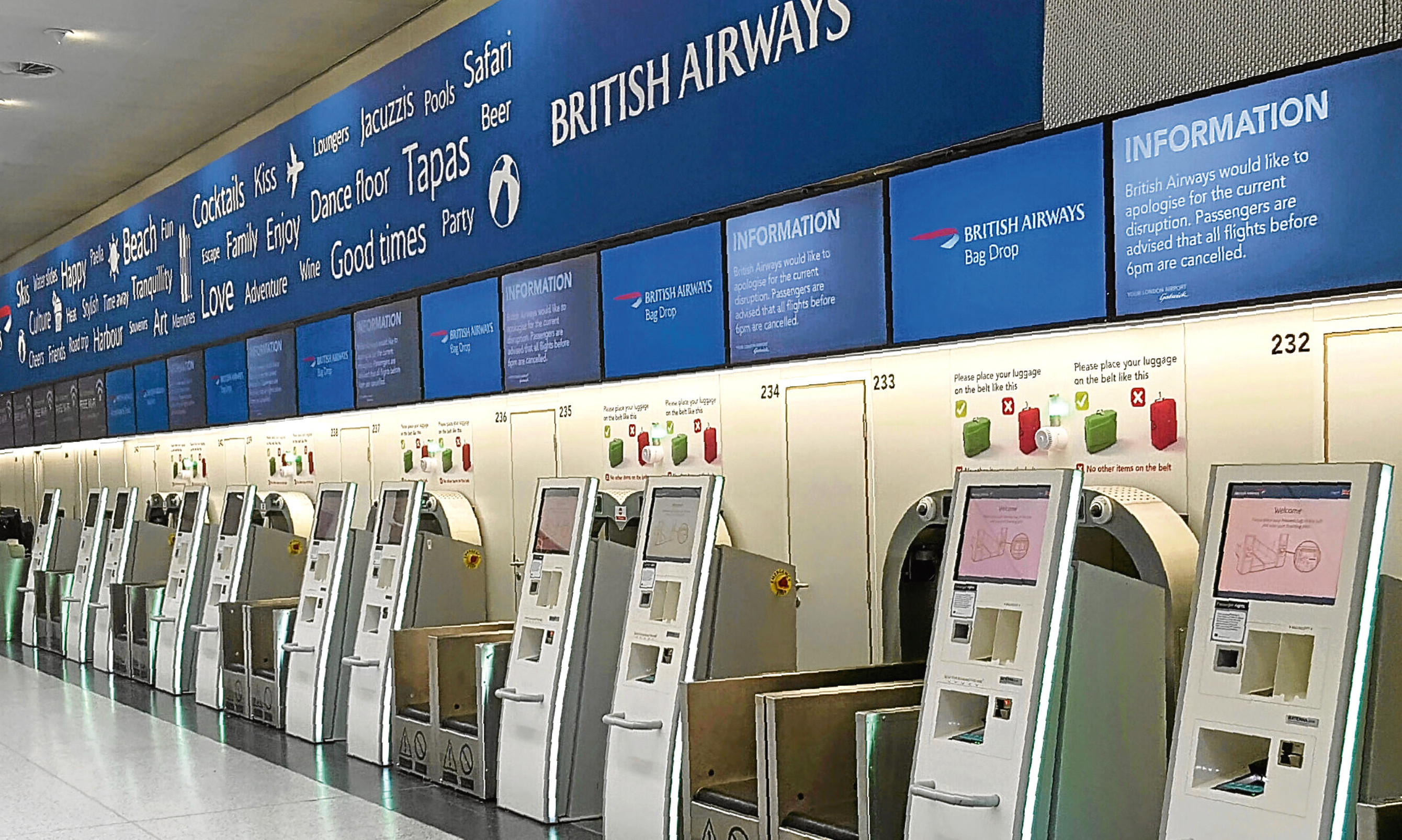 Going nowhere. BA check-in desks fell silent after the IT failure